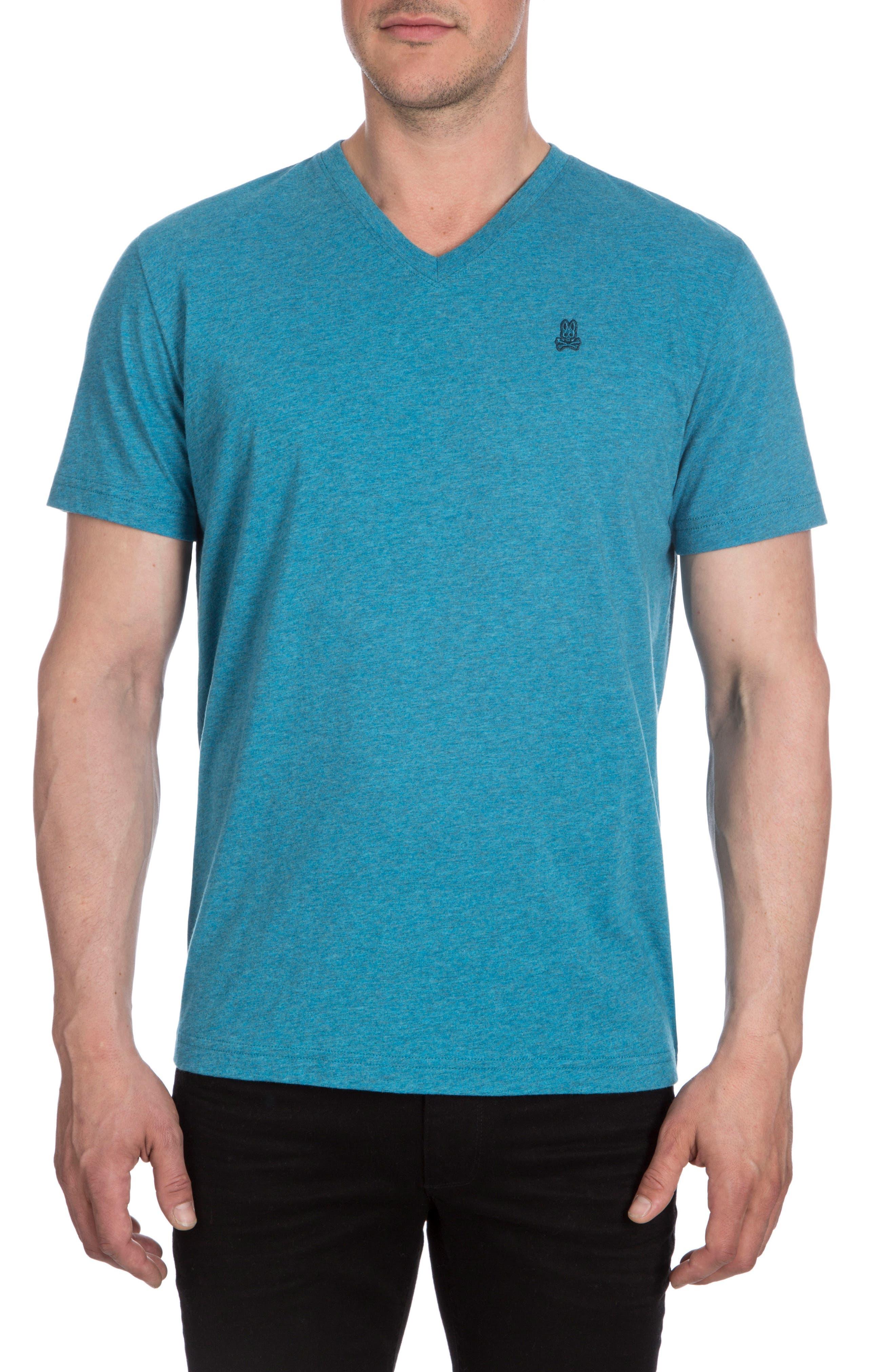V-Neck T-Shirt,                         Main,                         color, Heather Teal