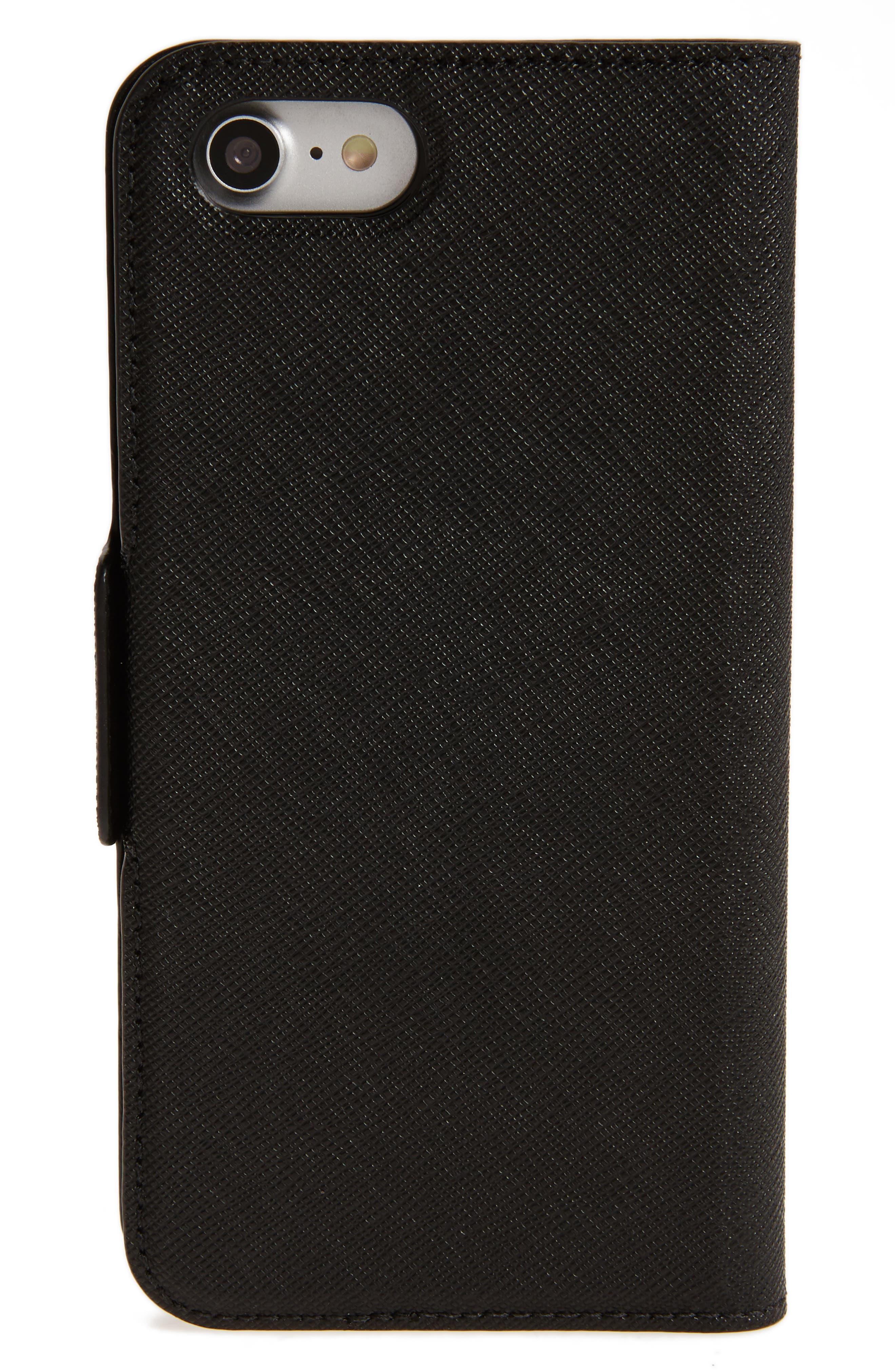 antoine appliqué leather iPhone 7/8 folio case,                             Alternate thumbnail 2, color,                             Black Multi
