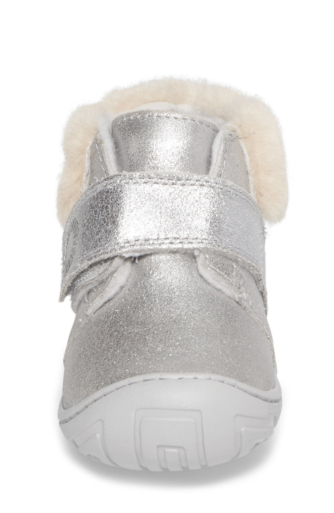 Jorgen Metallic Genuine Shearling Bootie,                             Alternate thumbnail 4, color,                             Silver