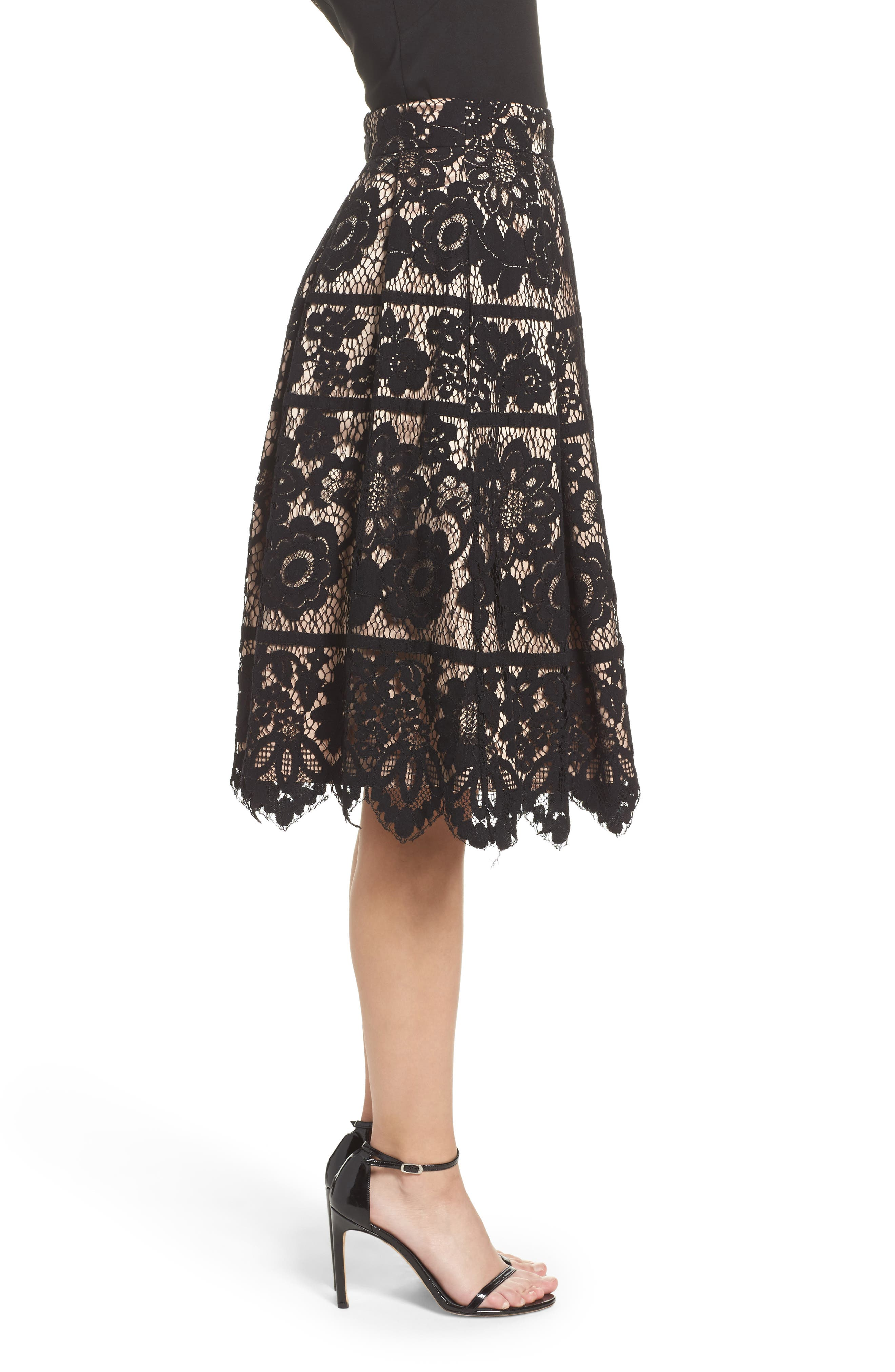 Pleated Lace Skirt,                             Alternate thumbnail 3, color,                             Black/ Nude