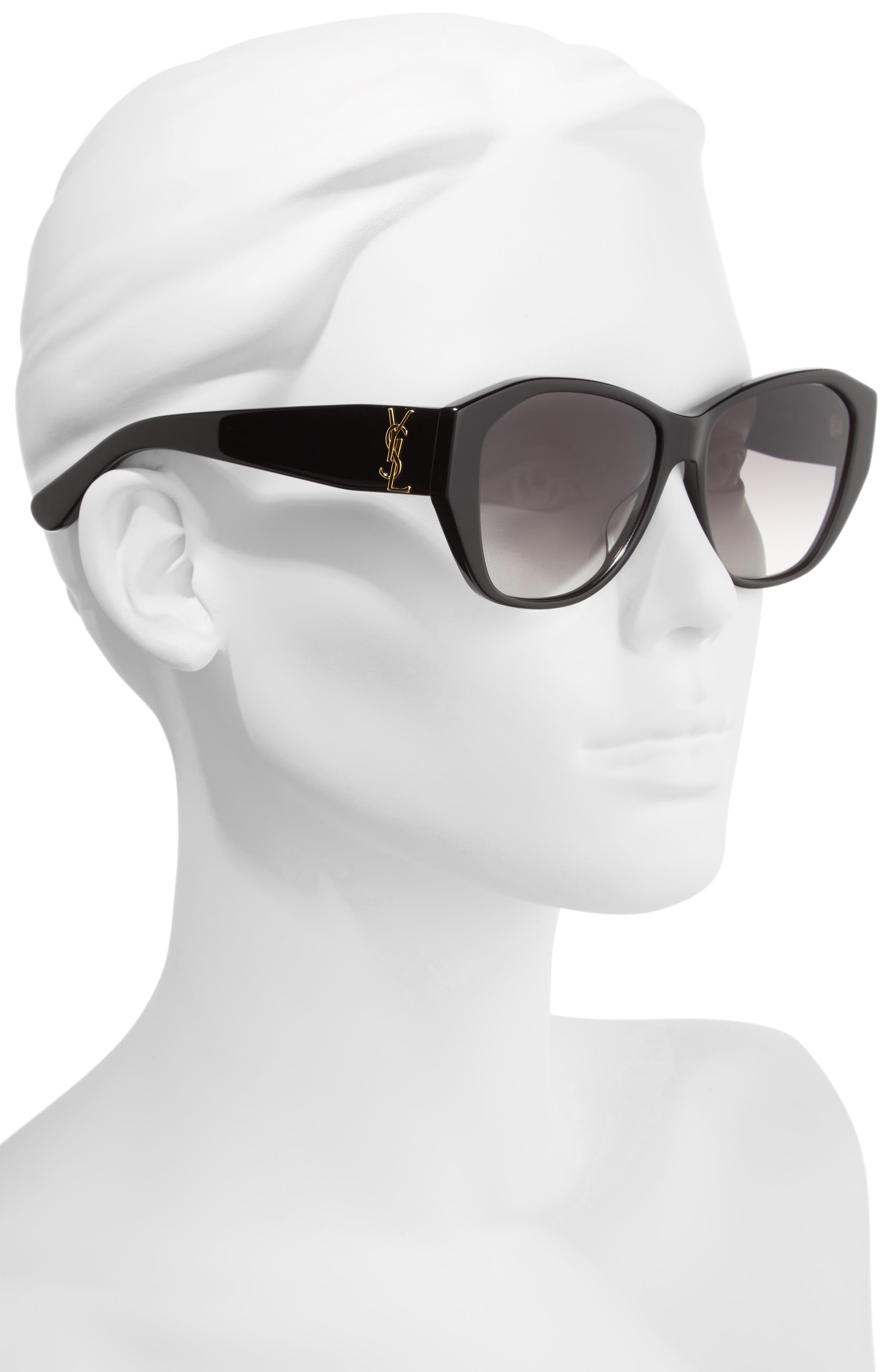 56mm Sunglasses,                             Alternate thumbnail 2, color,                             Black/ Black/ Grey