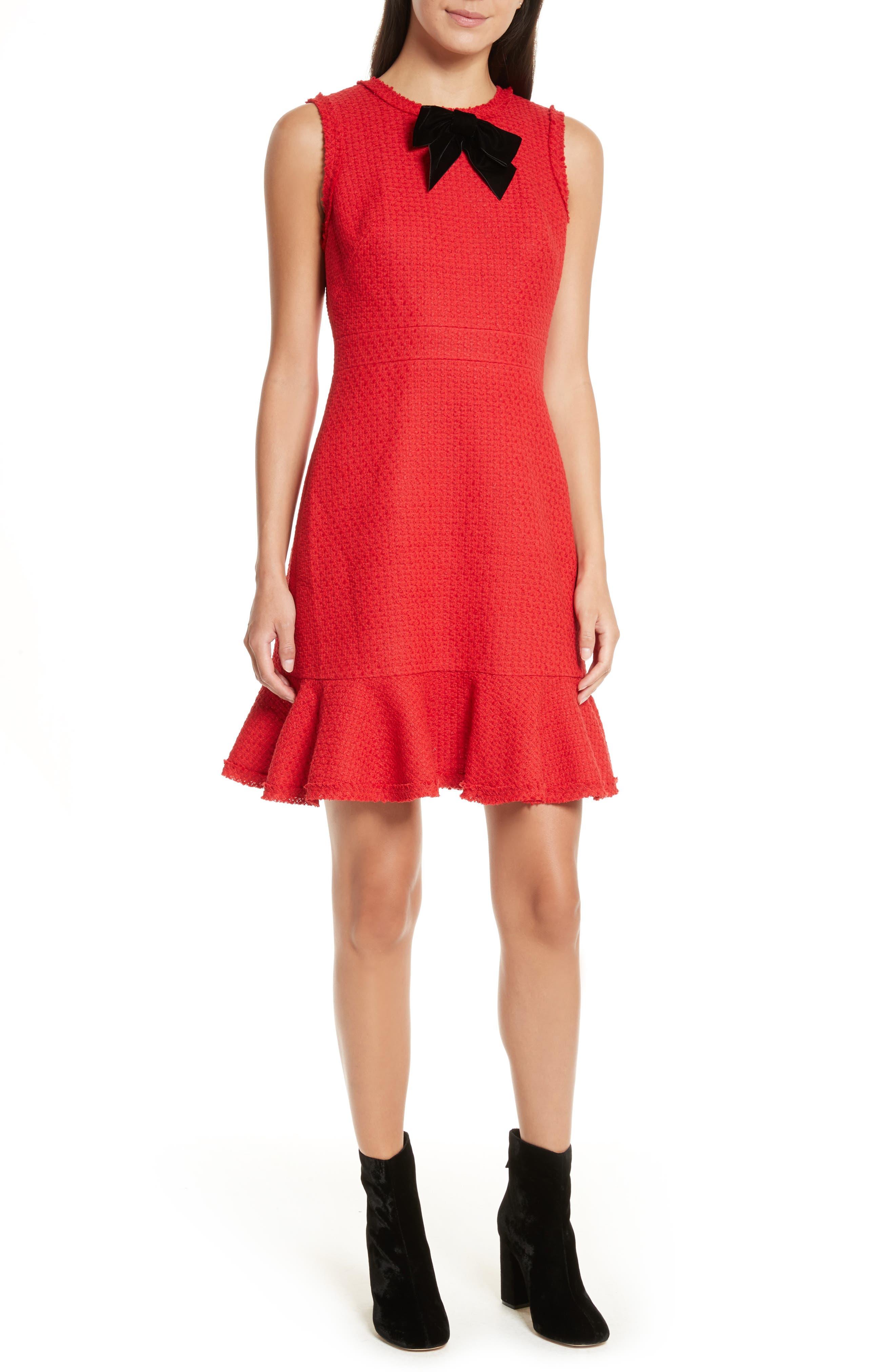 ruffle hem tweed dress,                         Main,                         color, Charm Red
