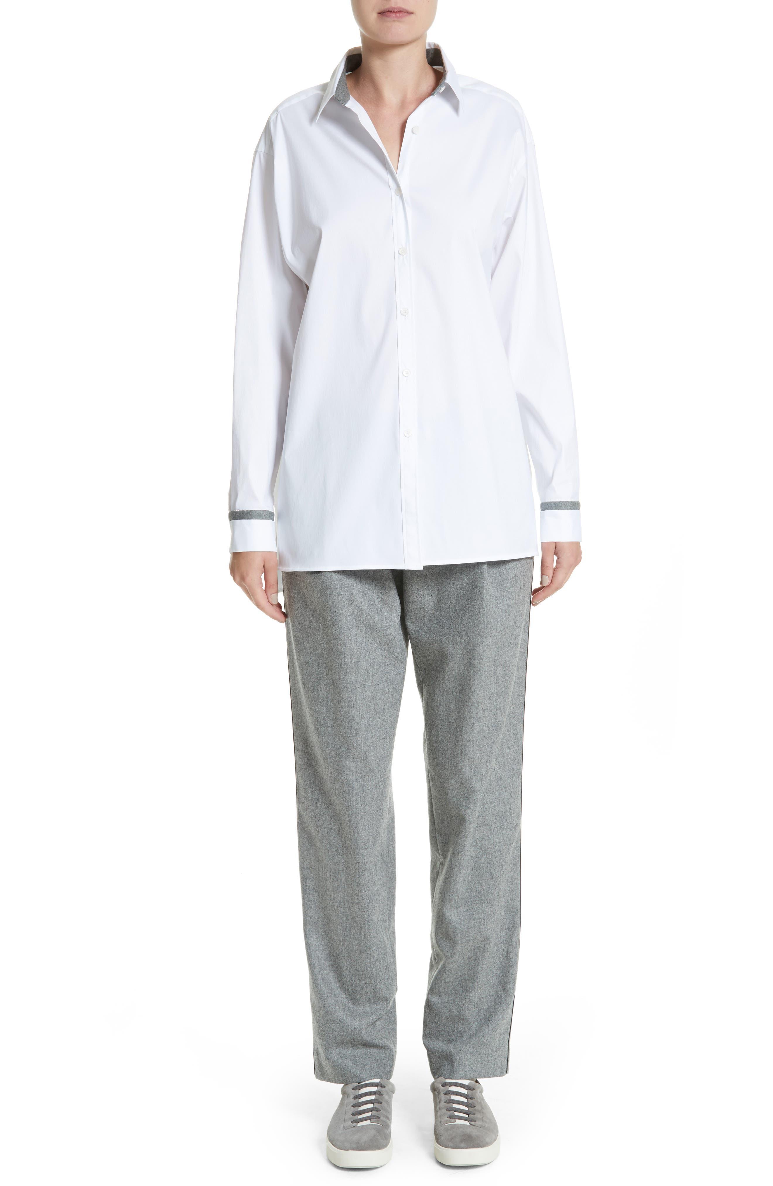 Alternate Image 7  - Lafayette 148 New York Finite Flannel Soho Track Pants