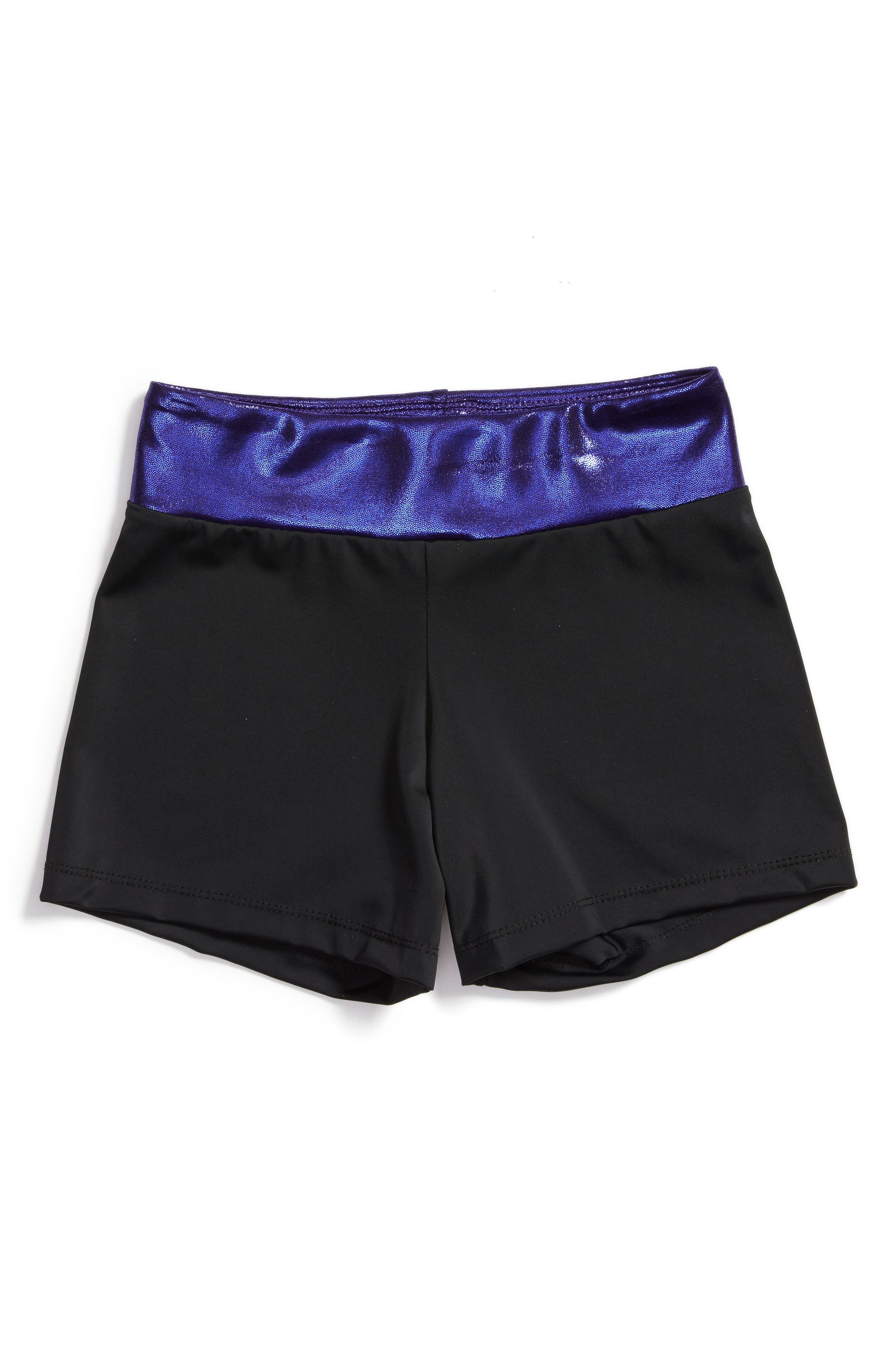 Space Girl Stretch Shorts,                         Main,                         color, Black/ Purple