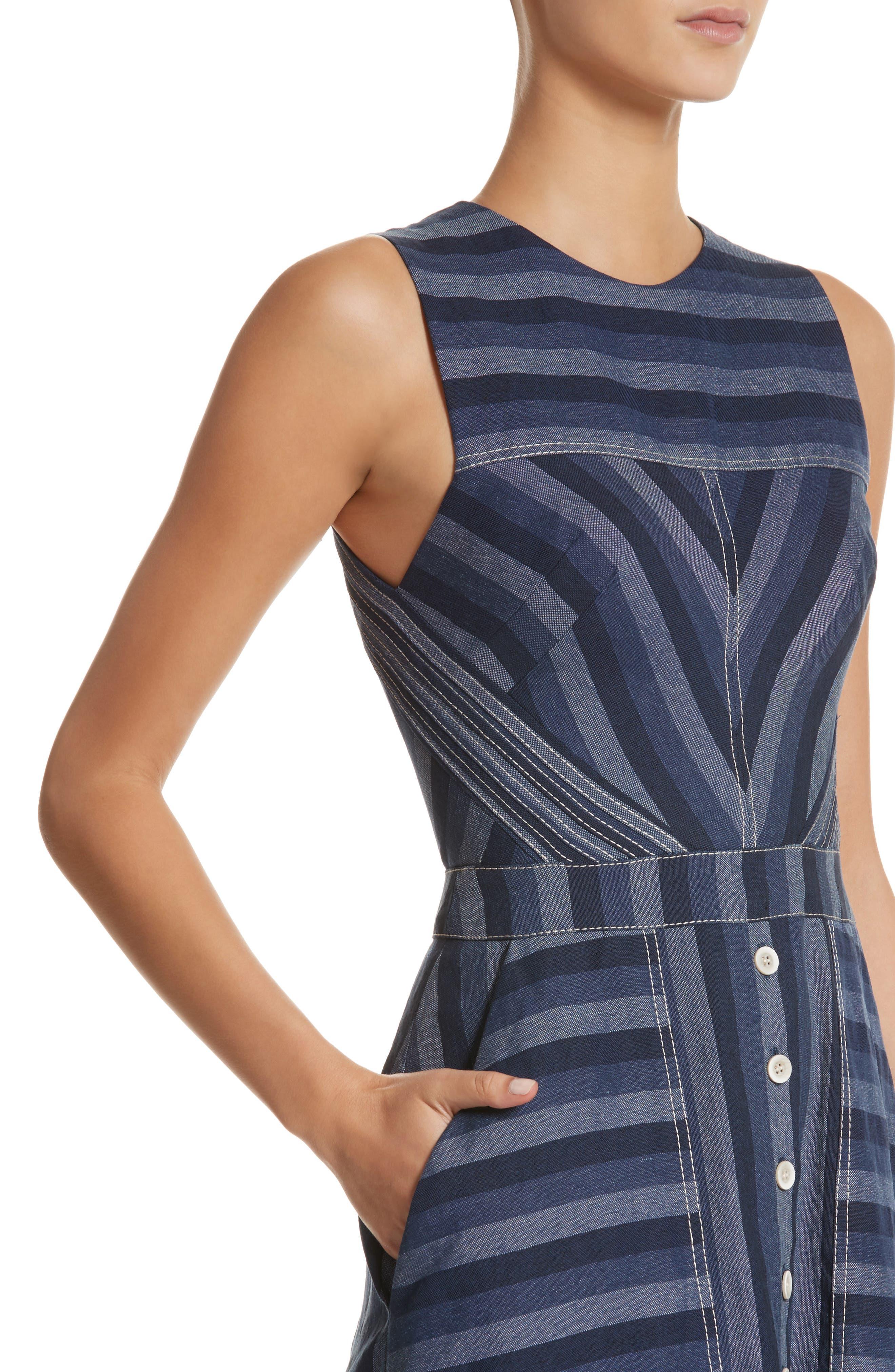 Alternate Image 4  - Carolina Herrera Stripe Denim Midi Dress