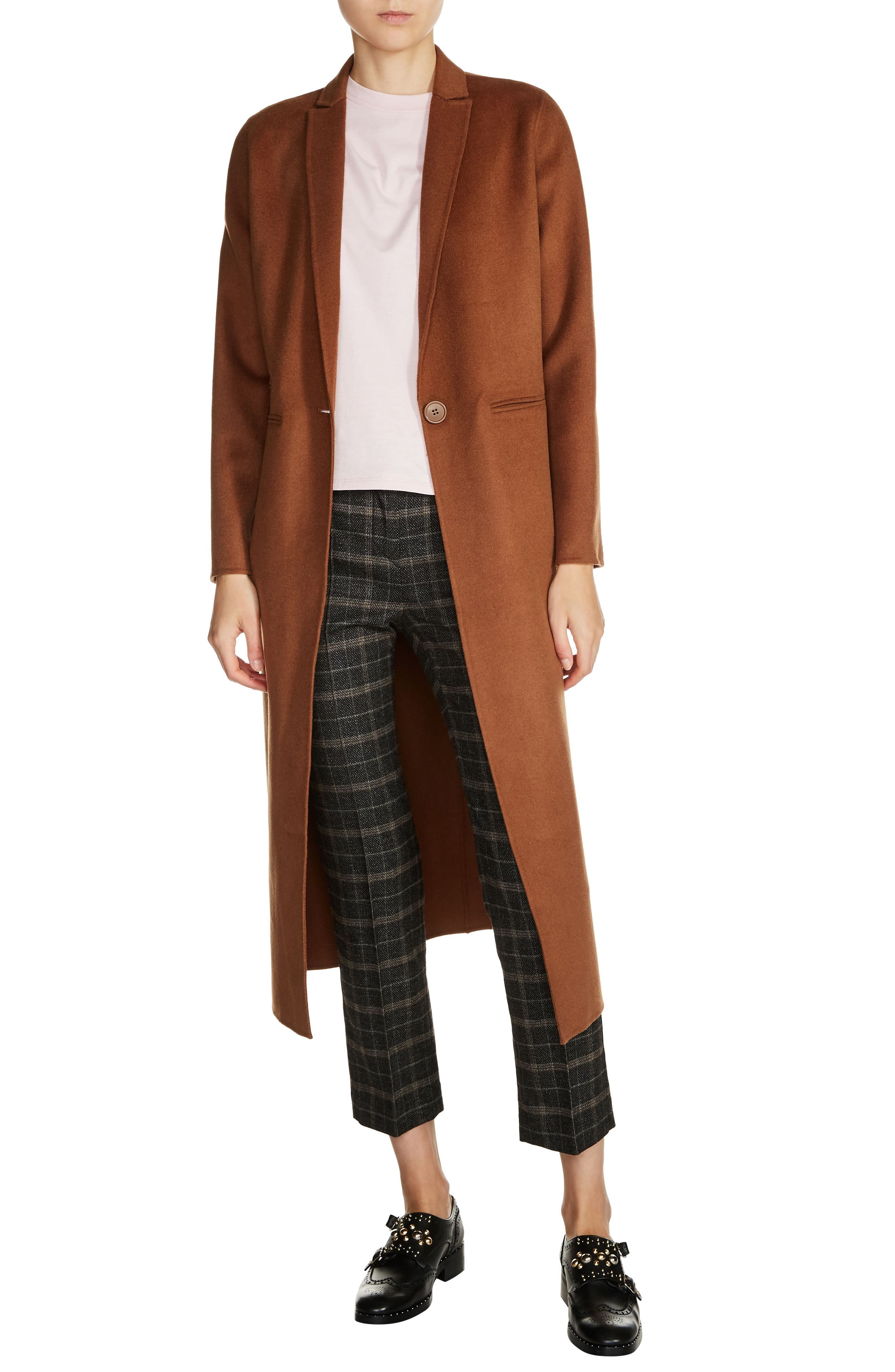 MAJE Long Double Face Wool Blend Coat
