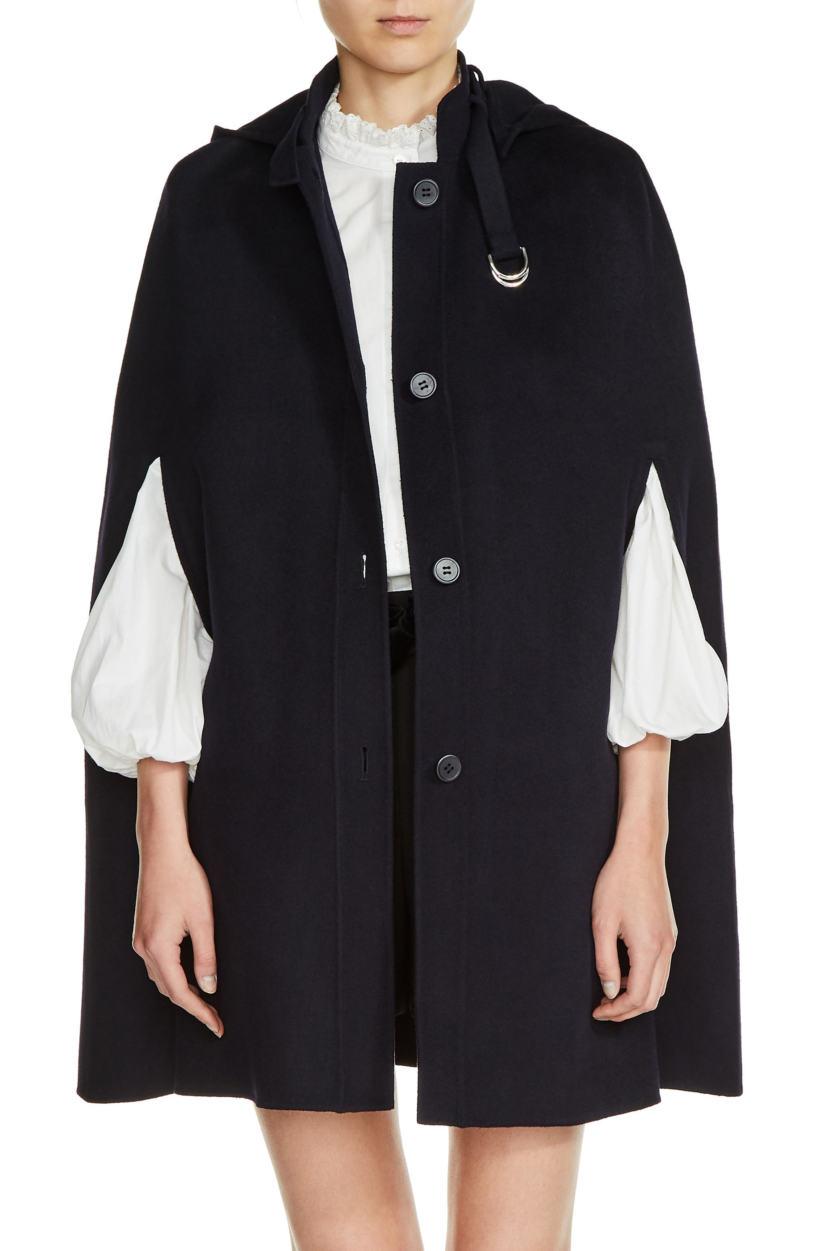 Hooded Wool Blend Cape,                         Main,                         color, Navy