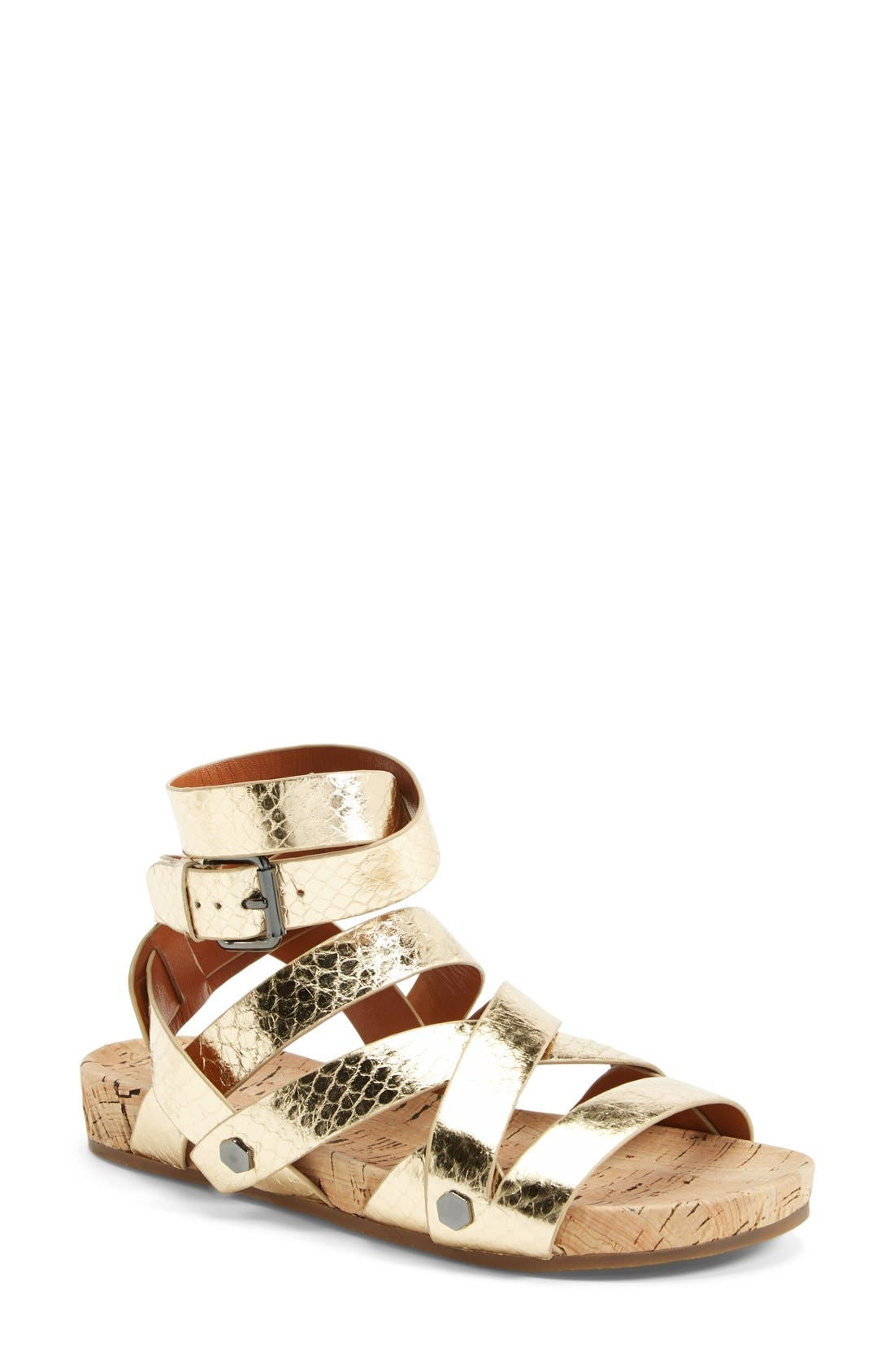 'Tristen' Sandal,                             Main thumbnail 1, color,                             Gold