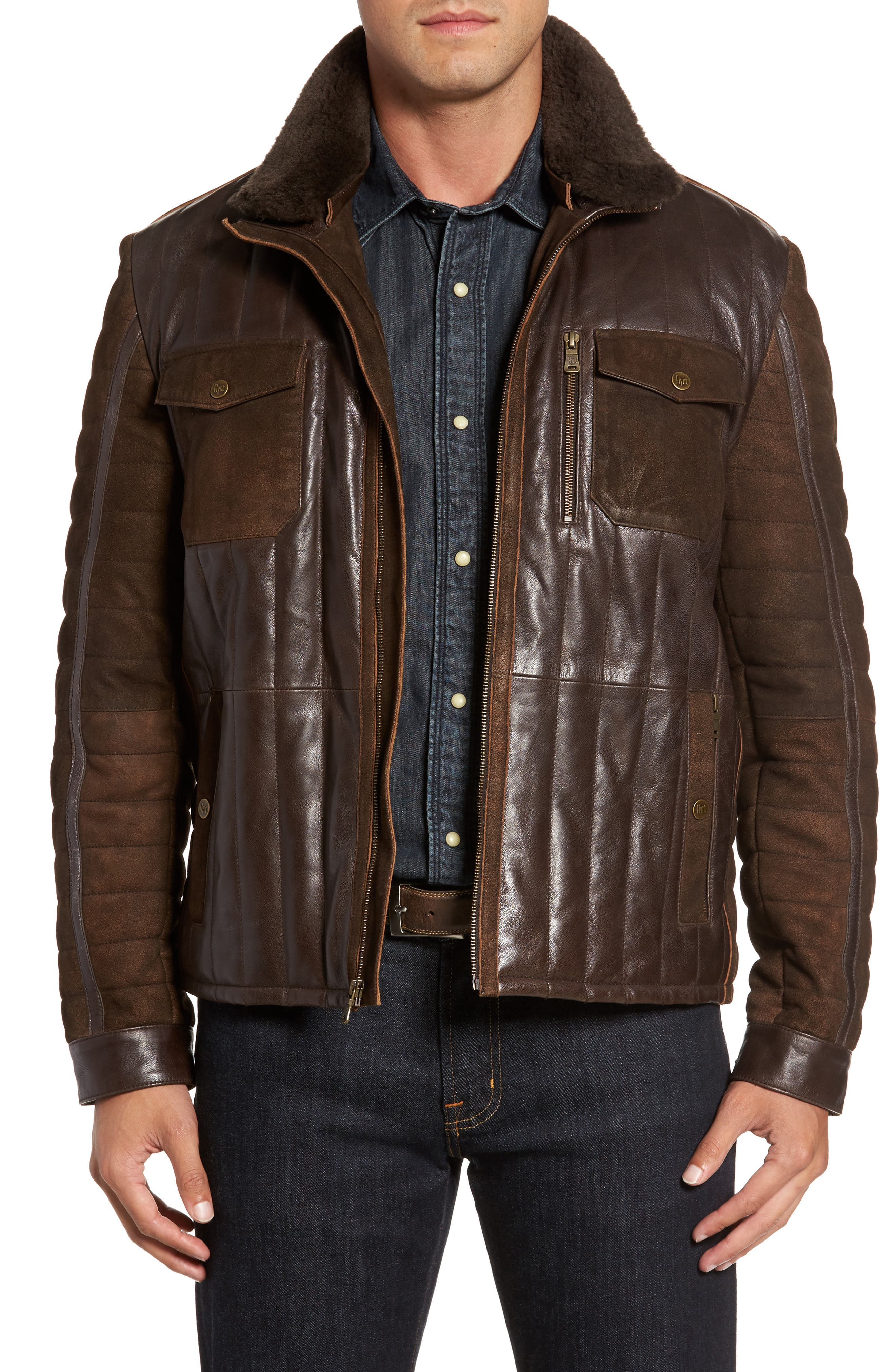 Genuine Shearling Trim Leather Bomber Jacket,                         Main,                         color, Brown