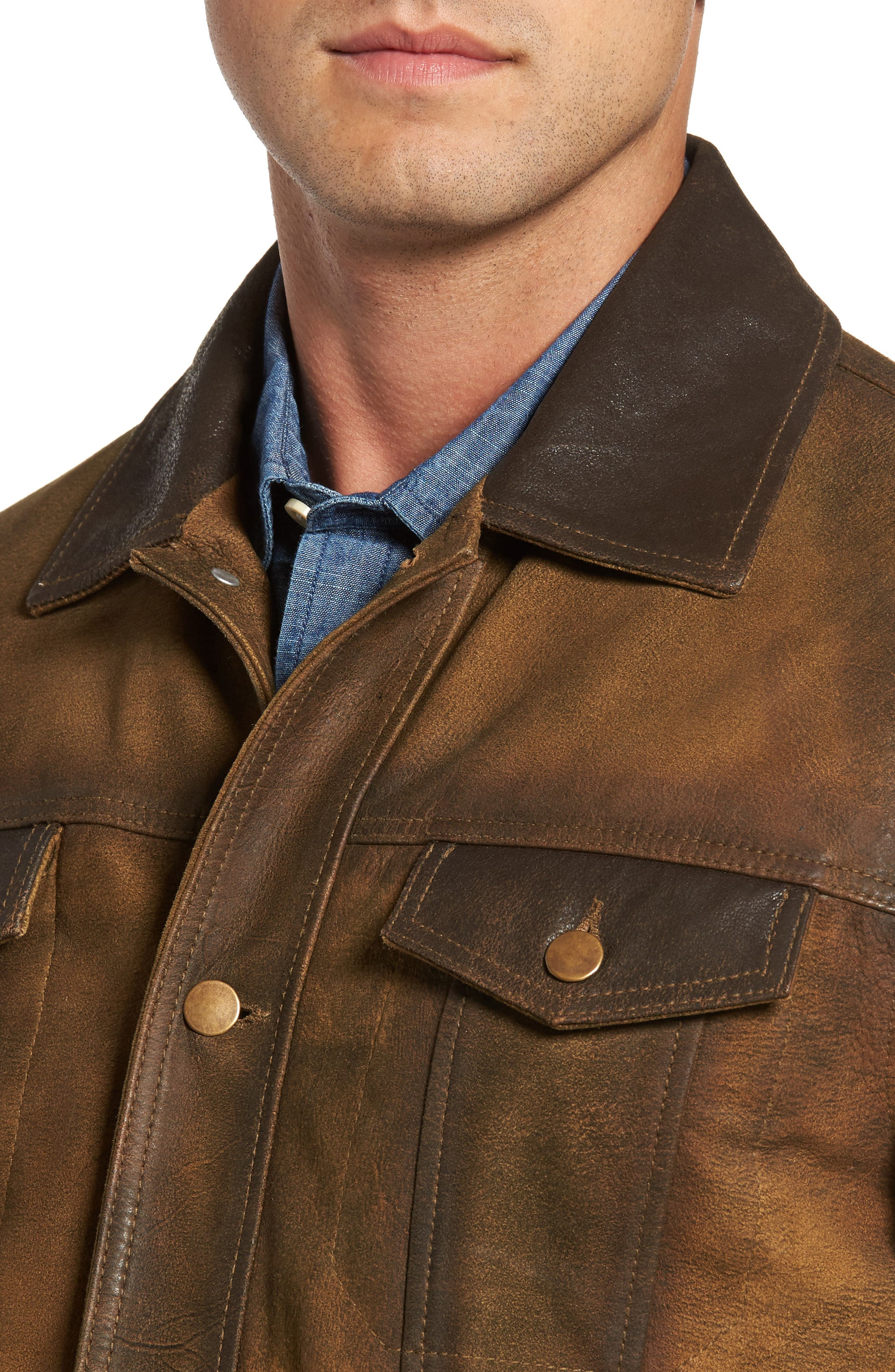 Distressed Leather Trucker Jacket,                             Alternate thumbnail 4, color,                             Brown