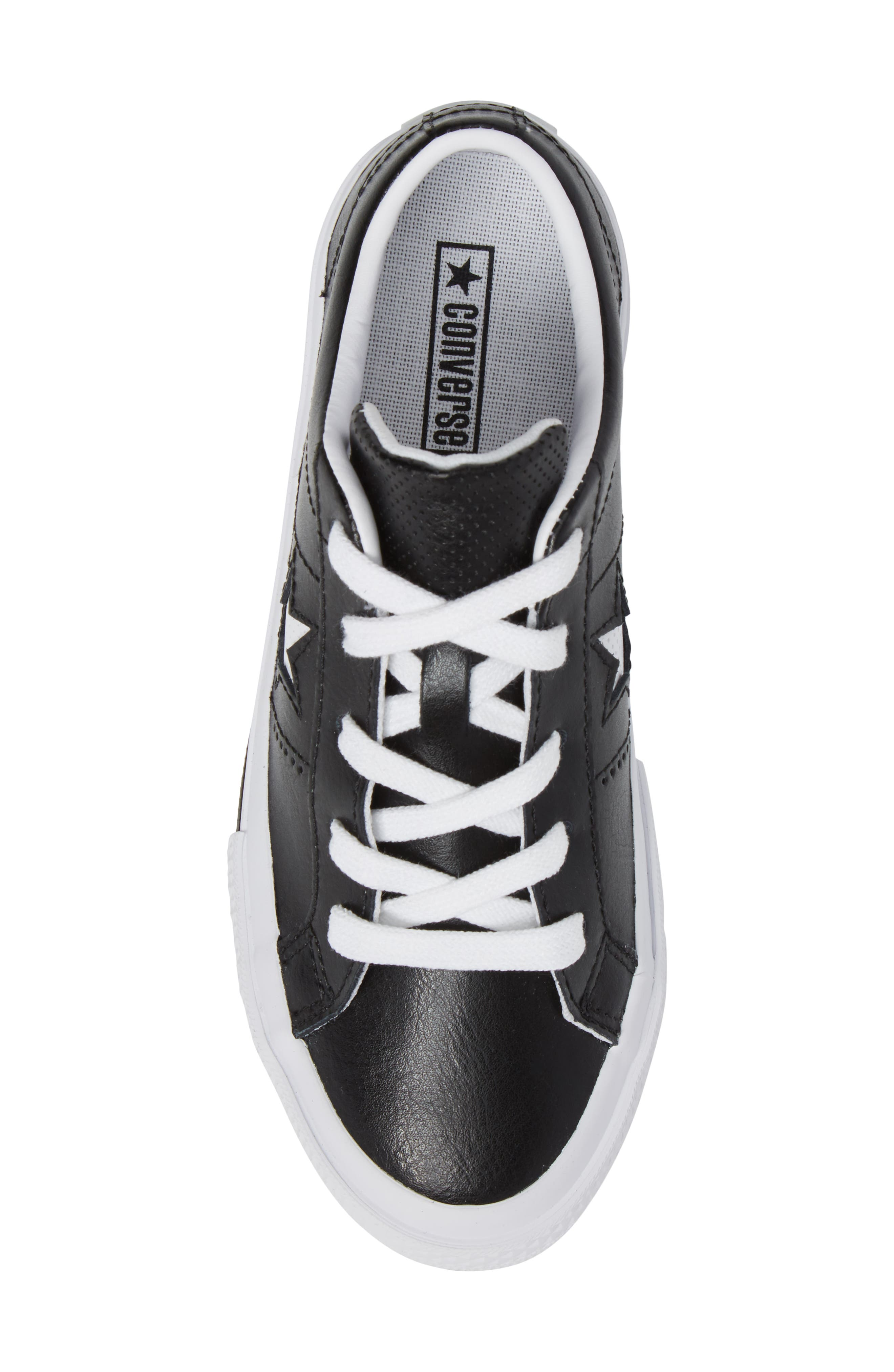 Chuck Taylor<sup>®</sup> All Star<sup>®</sup> One Star Sneaker,                             Alternate thumbnail 5, color,                             Black Leather