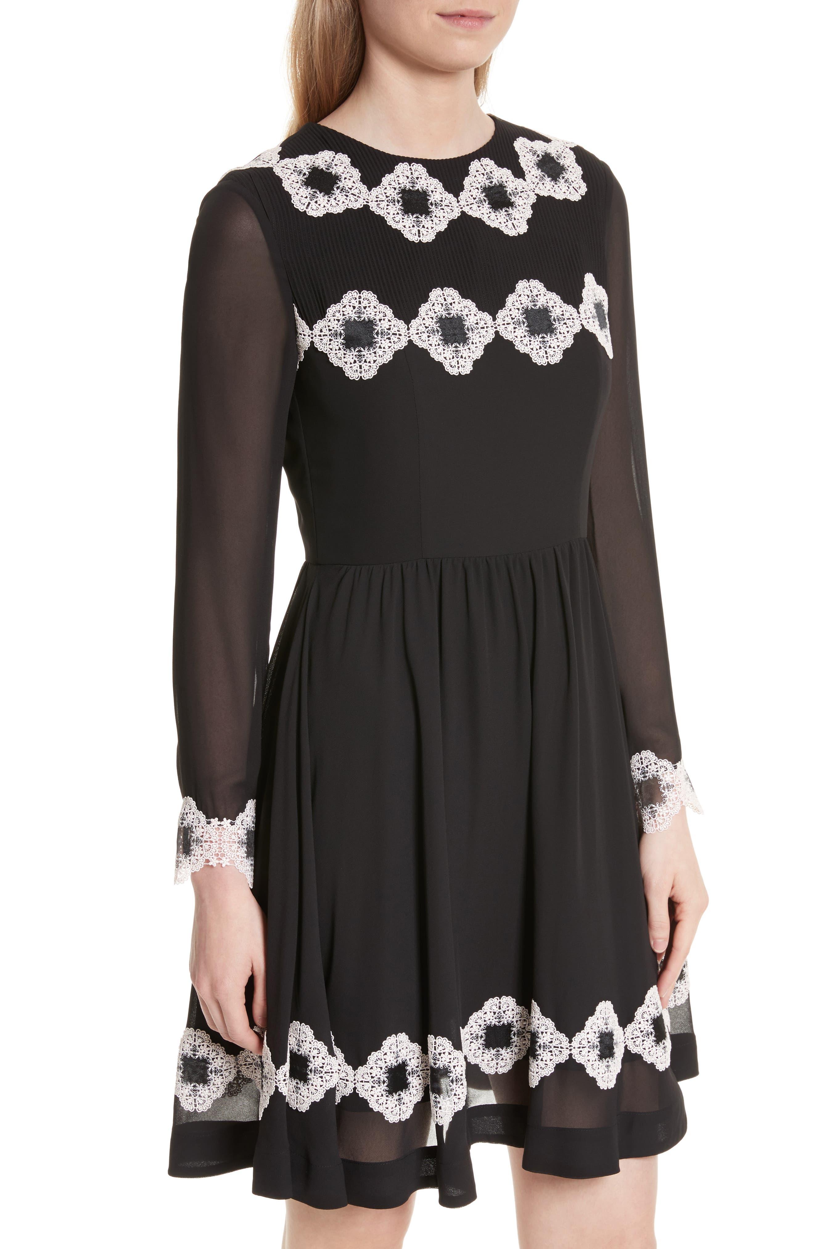 Avianah Lace Trim Fit & Flare Dress,                             Alternate thumbnail 4, color,                             Black