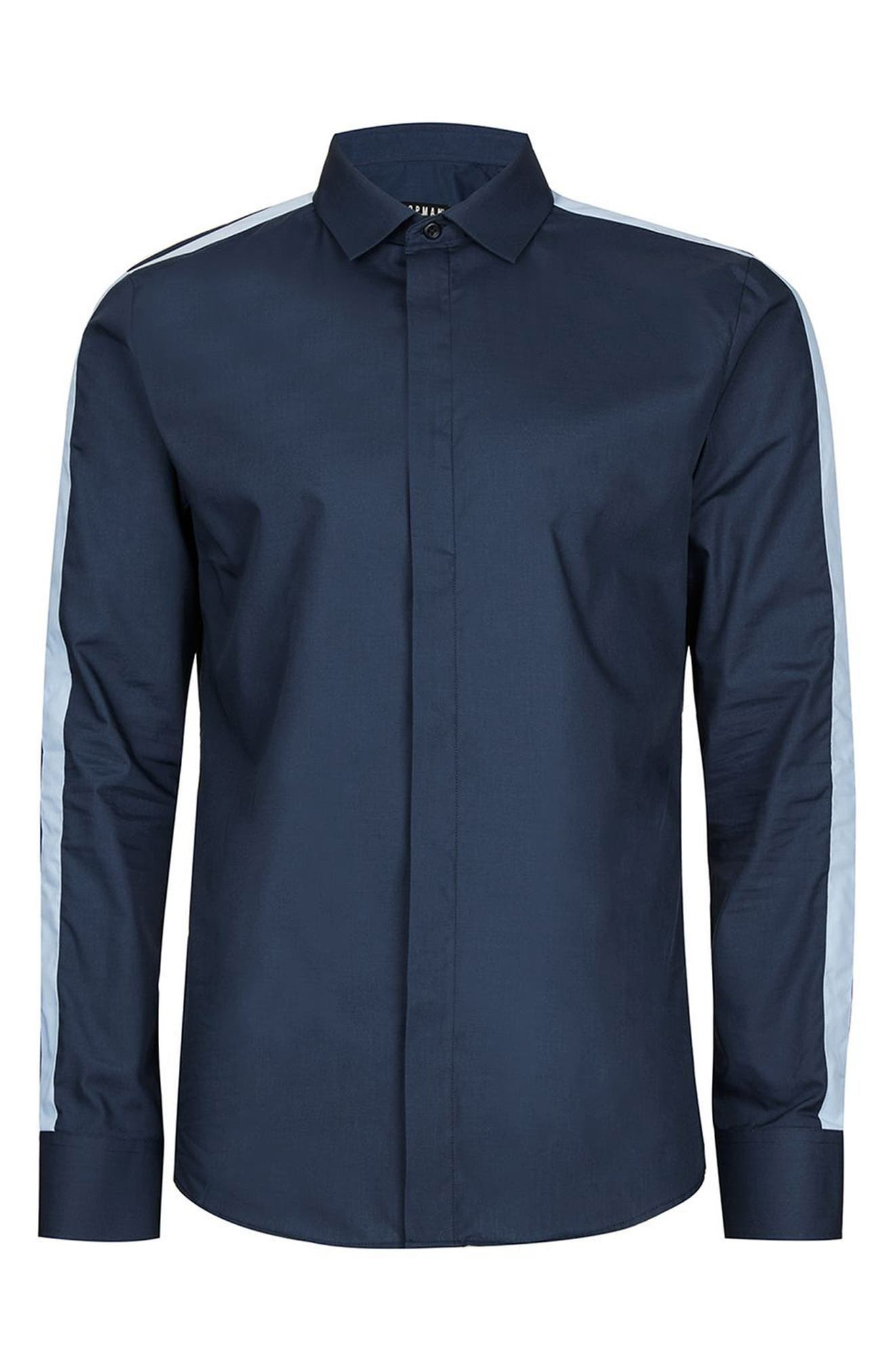 Alternate Image 6  - Topman Slim Fit Contrast Stripe Woven Shirt