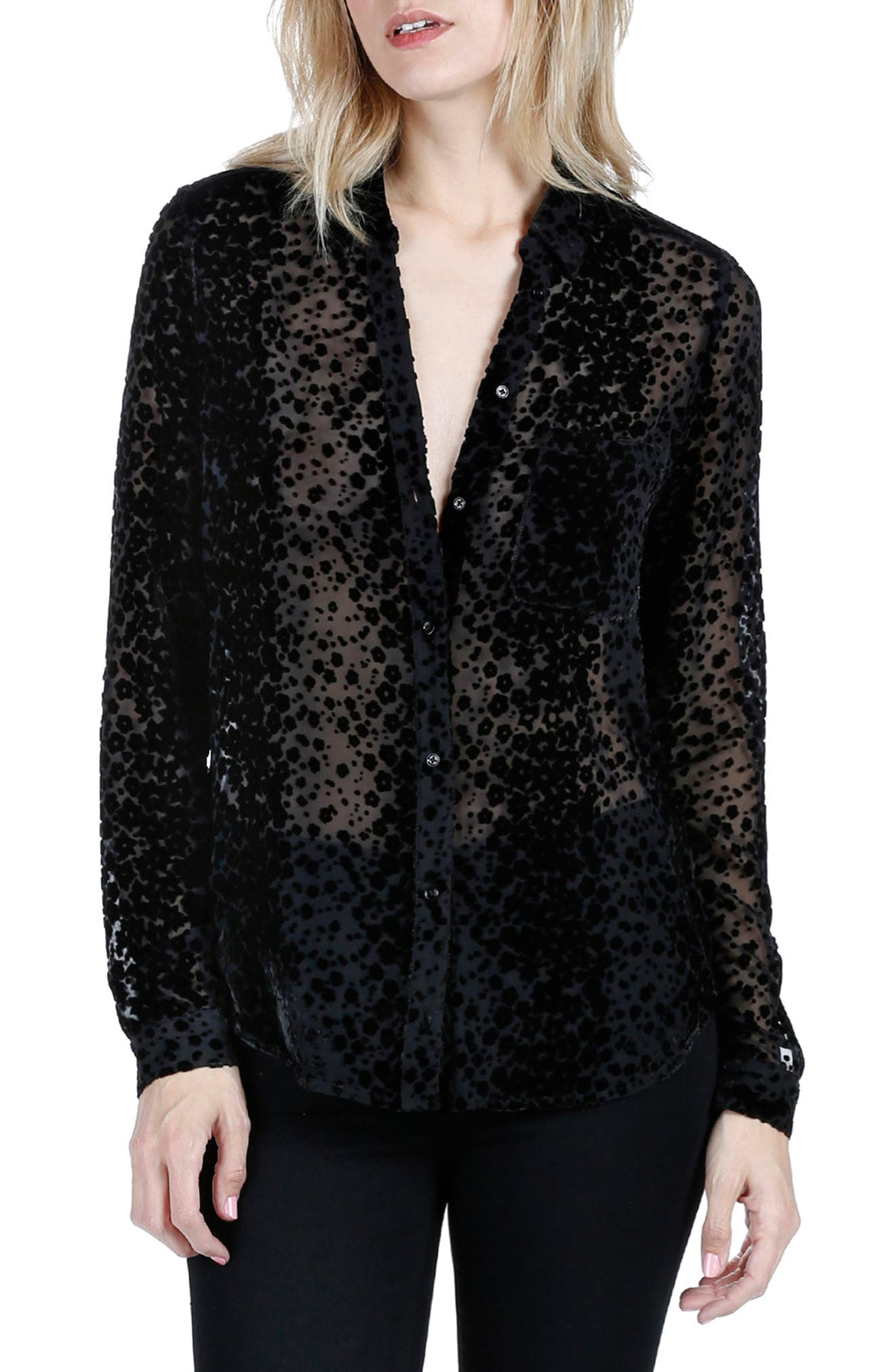Linara Silk Shirt,                         Main,                         color, Black