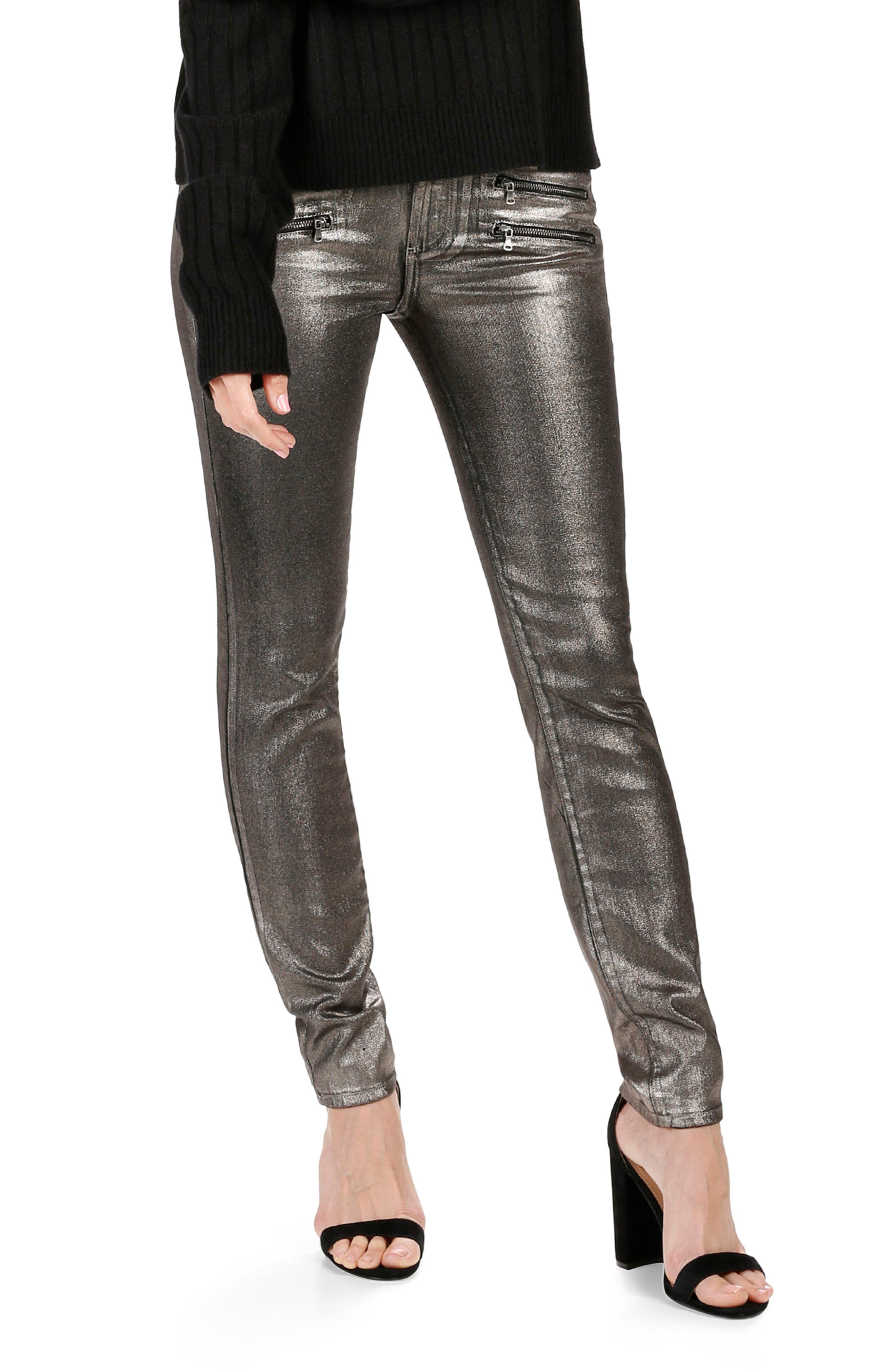 Main Image - Rosie HW x PAIGE Stevie High Waist Skinny Jeans (Champagne Galaxy Coating)