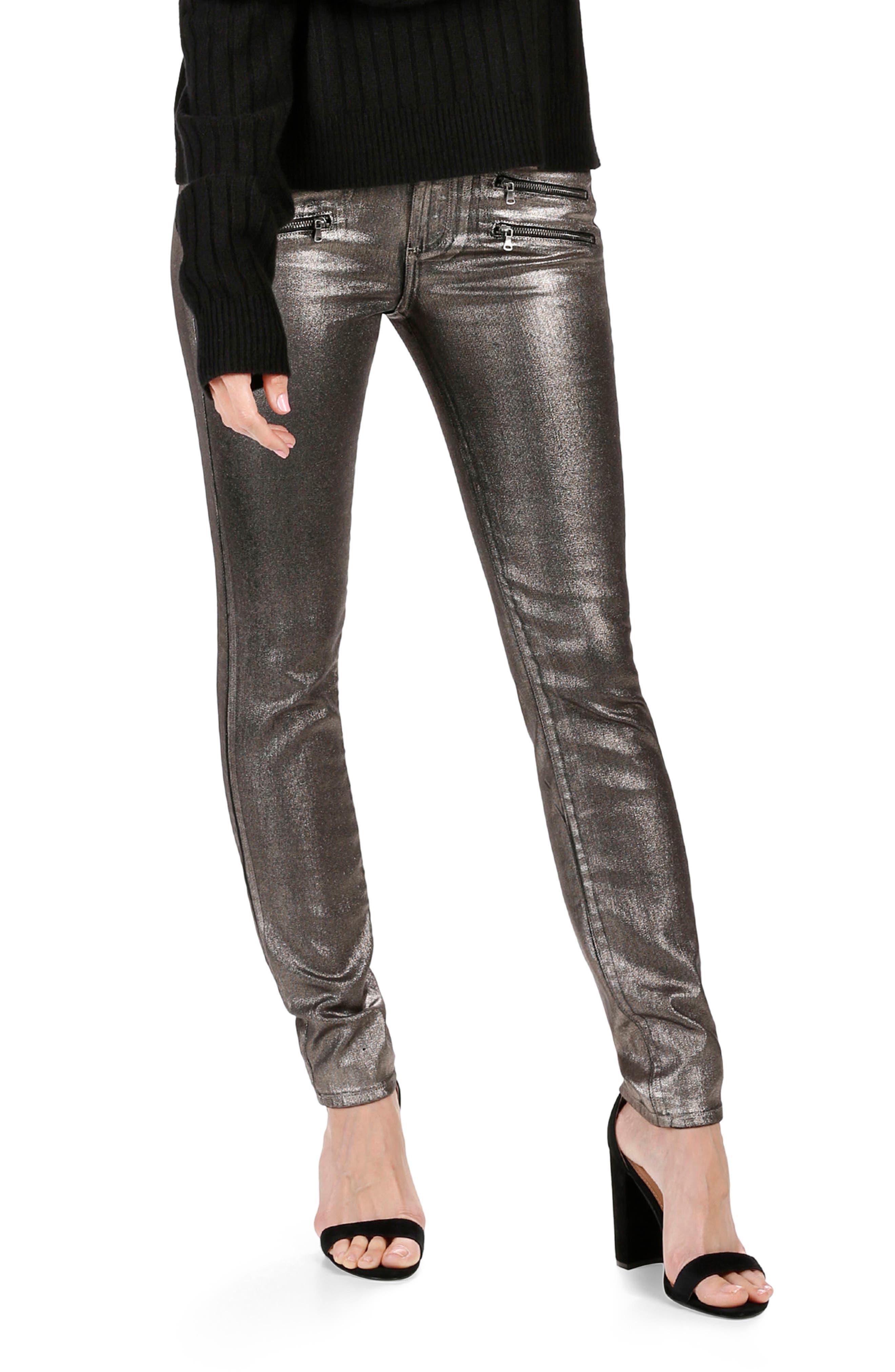 Rosie HW x PAIGE Stevie High Waist Skinny Jeans (Metallic Zebra)