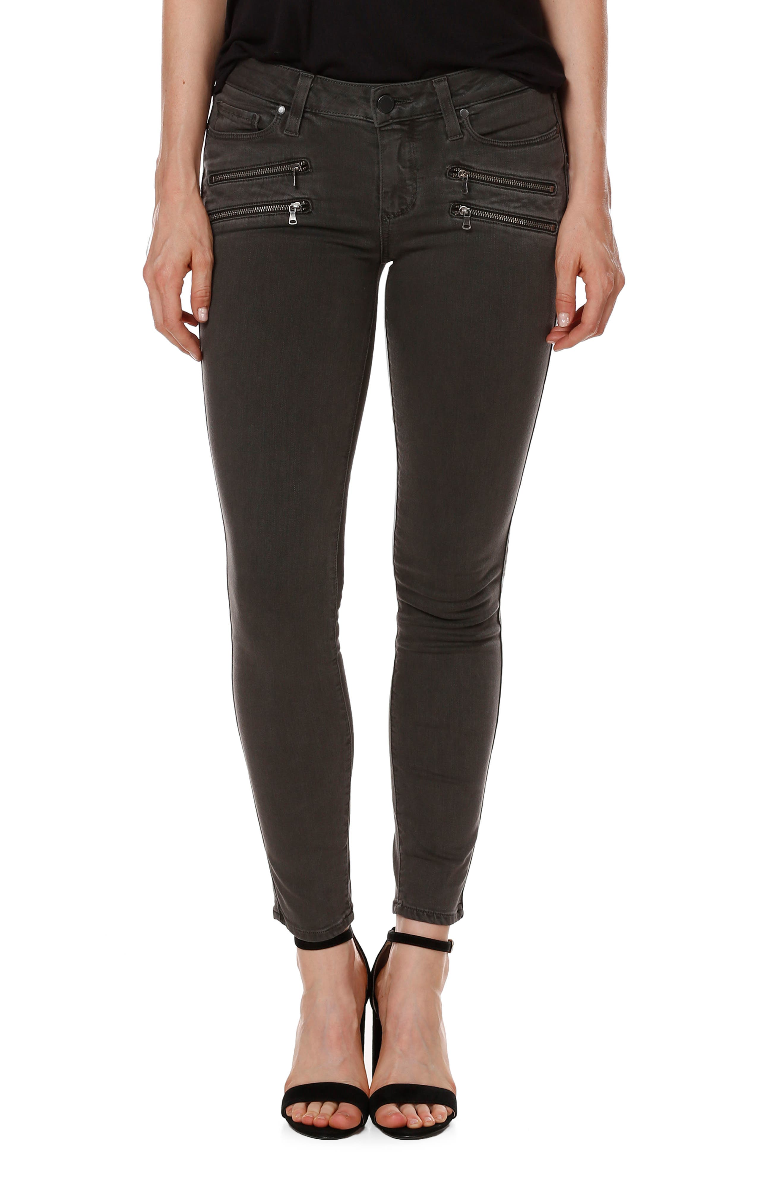 Transcend - Edgemont Ankle Ultra Skinny Jeans,                             Main thumbnail 1, color,                             Coal Grey