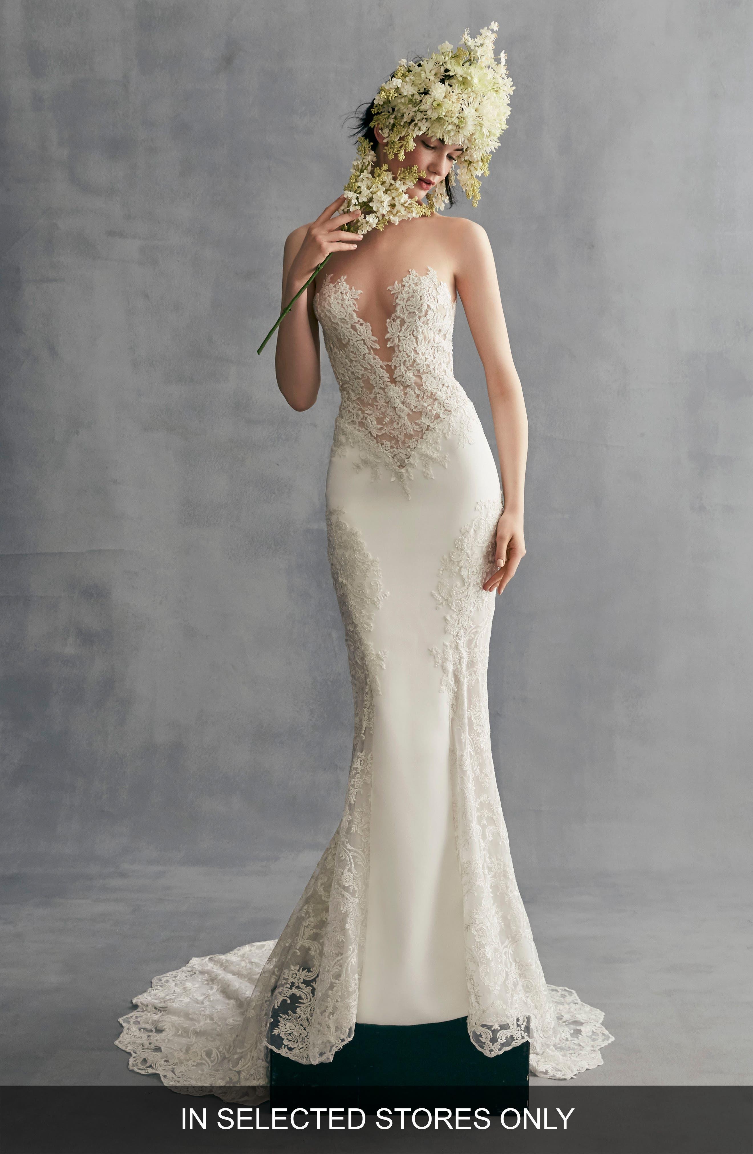 Azalea Lace & Stretch Crepe Gown,                             Main thumbnail 1, color,                             Off White