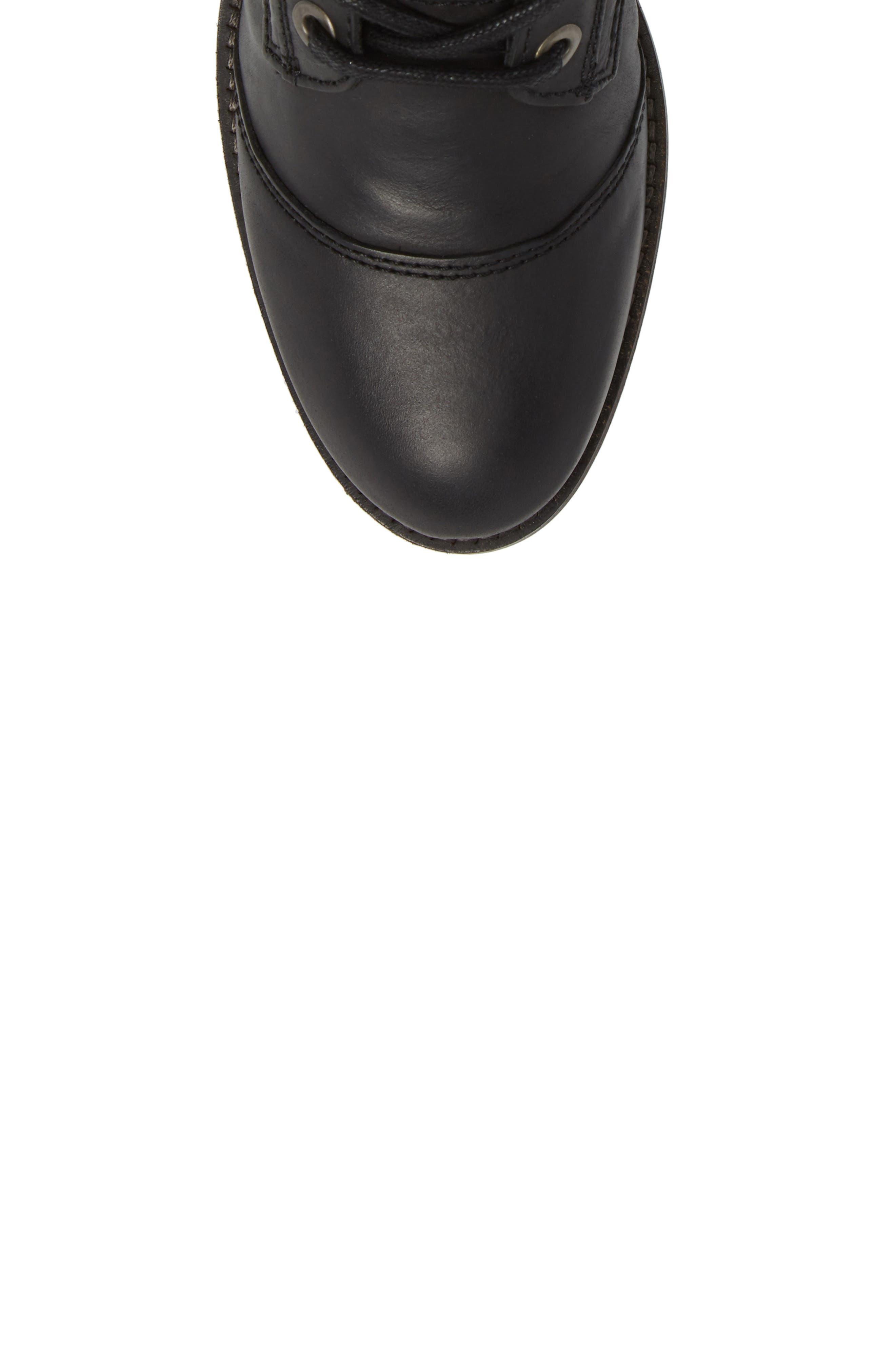 Lune Waterproof Moto Boot,                             Alternate thumbnail 5, color,                             Black Varese Leather