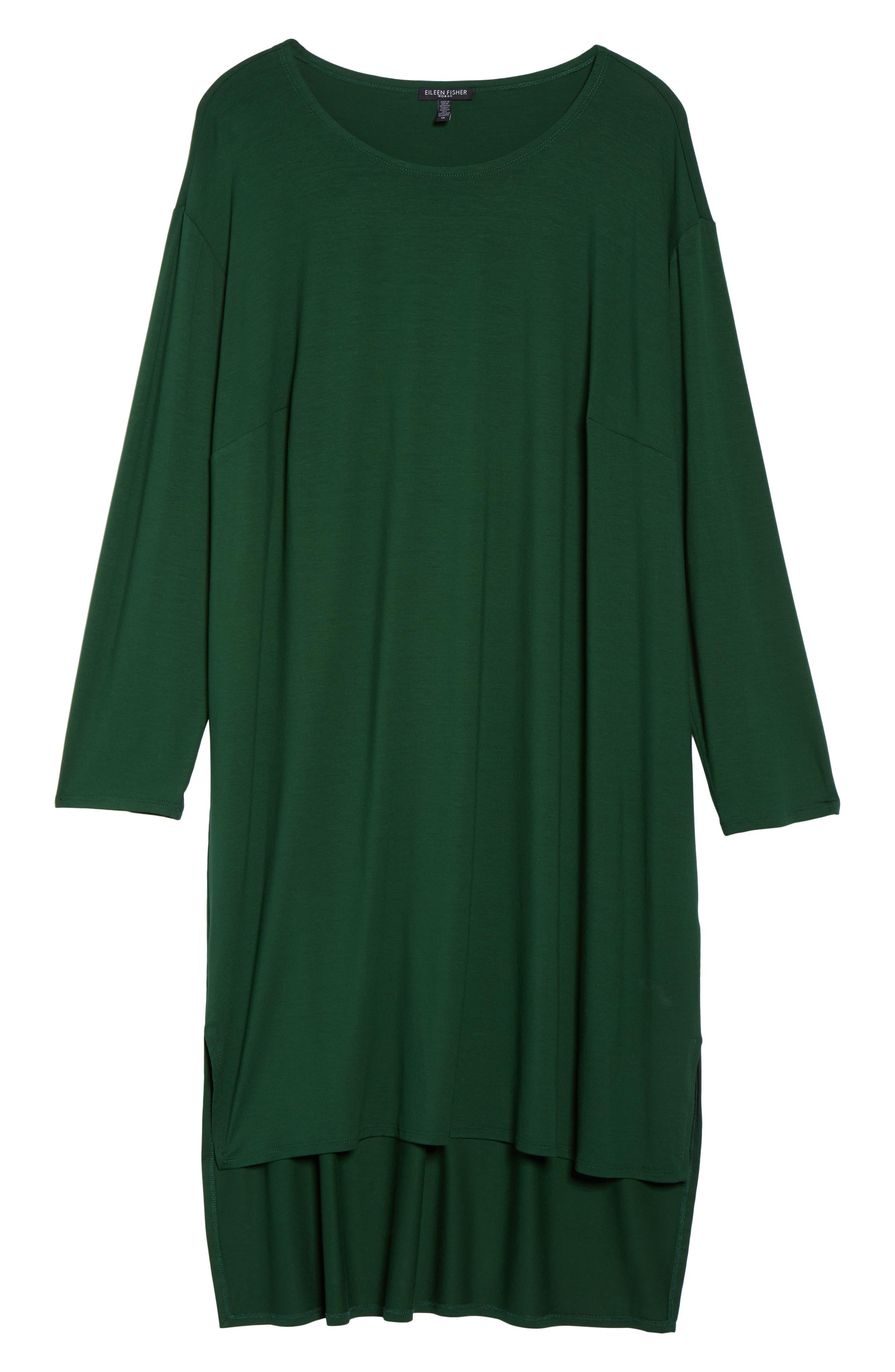 Alternate Image 6  - Eileen Fisher High/Low Jersey Shift Dress (Plus Size)