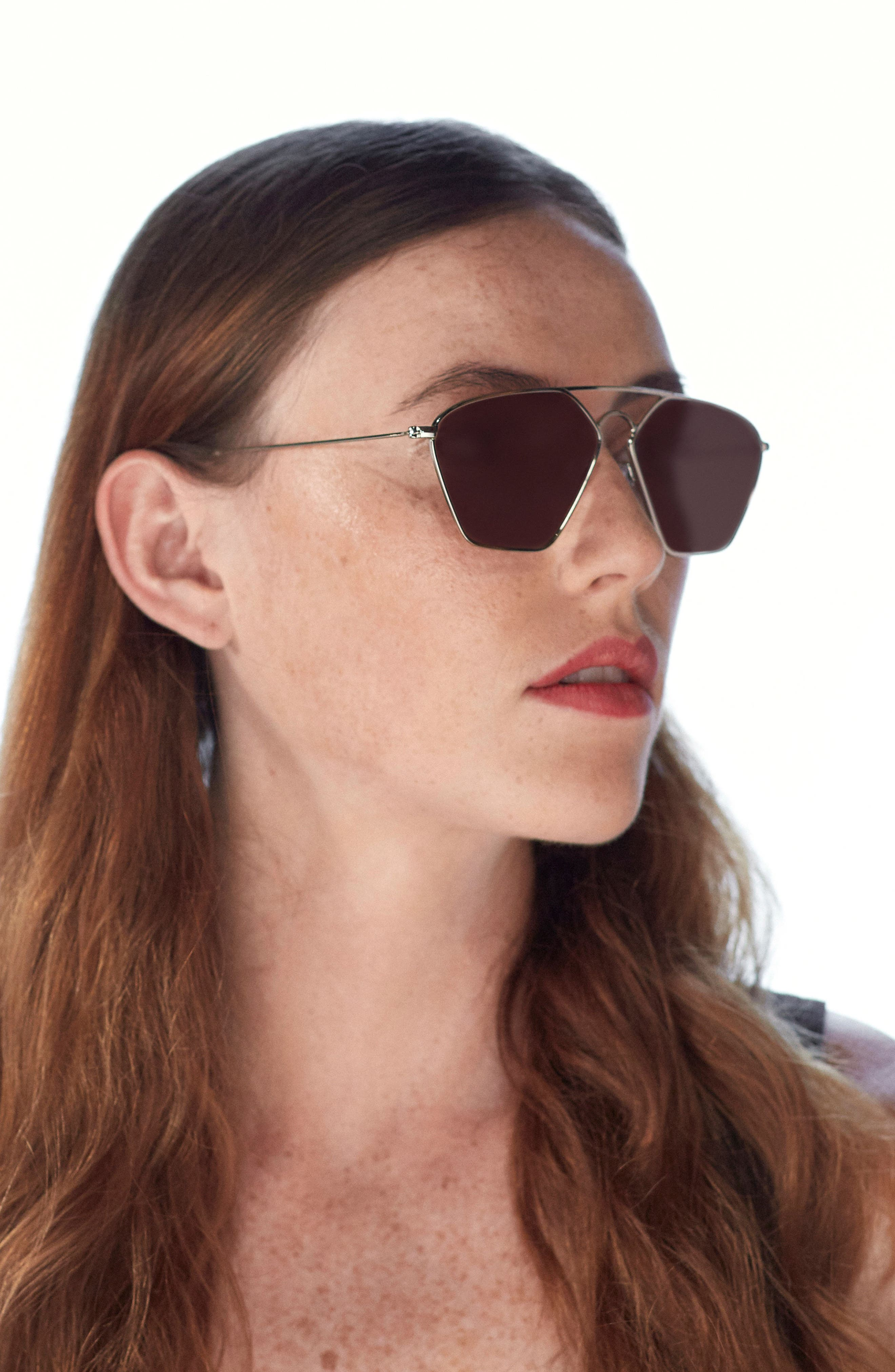 Geo III 56mm Sunglasses,                             Alternate thumbnail 3, color,                             Gold