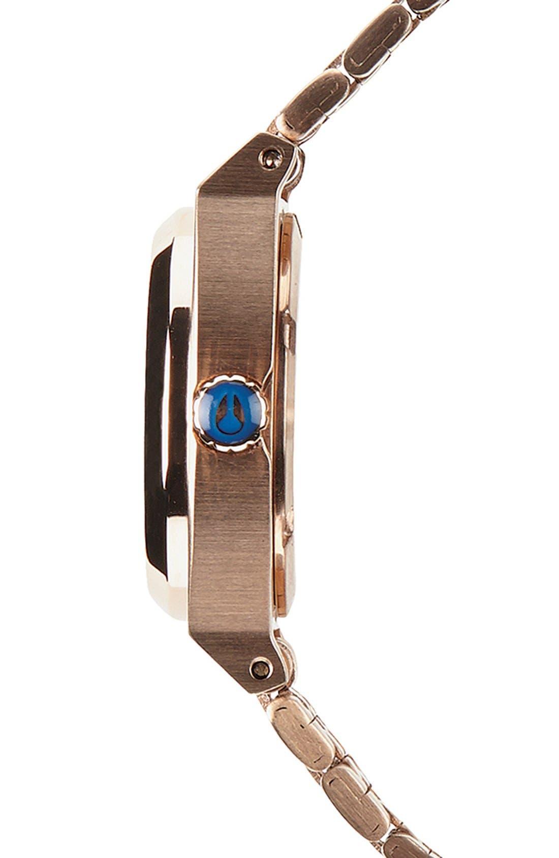 'The Small Time Teller' Bracelet Watch, 26mm,                             Alternate thumbnail 3, color,                             Rose Gold/ Cobalt