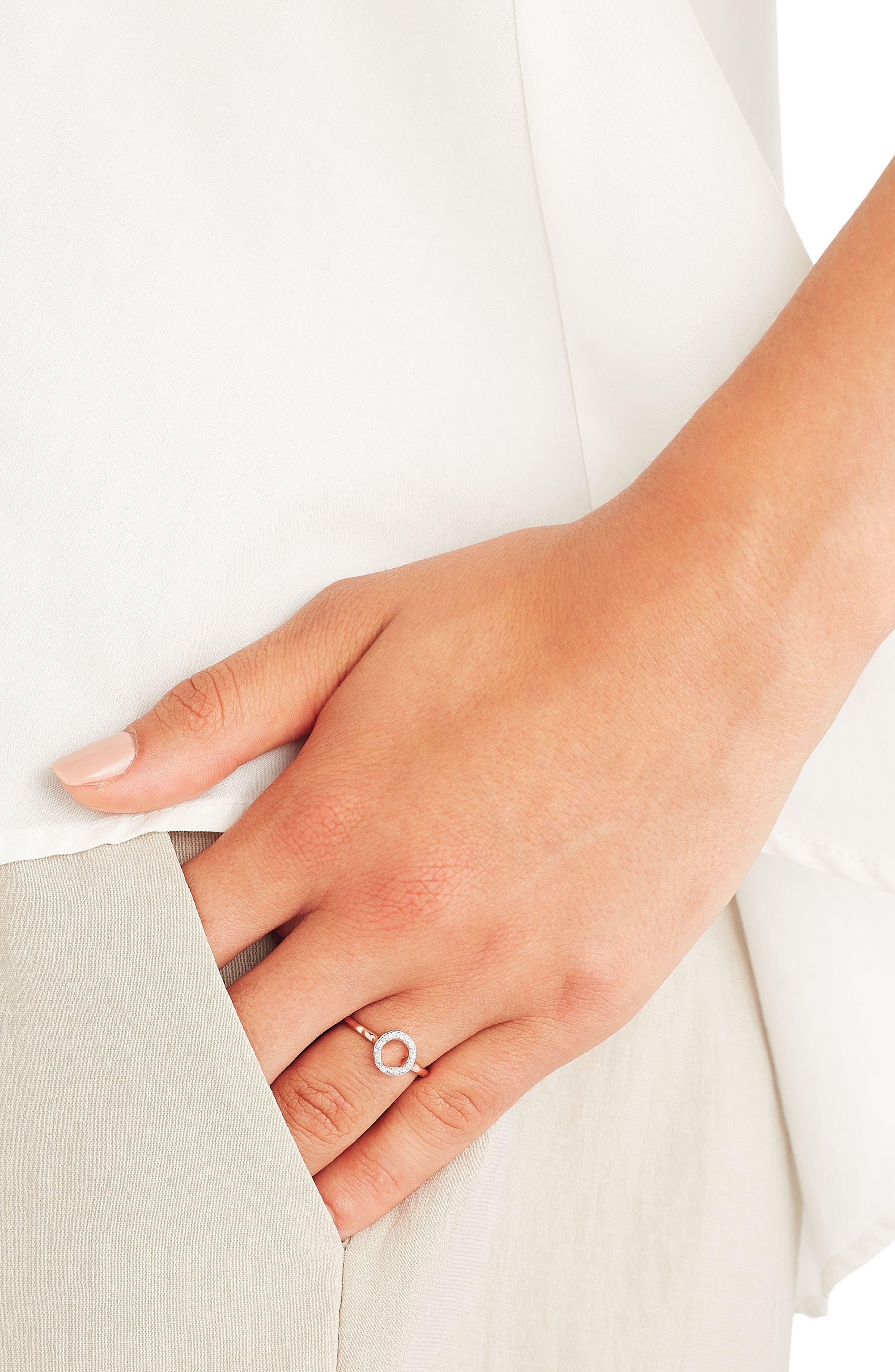 Riva Diamond Mini Circle Ring,                             Alternate thumbnail 2, color,                             Rose Gold/ Diamond