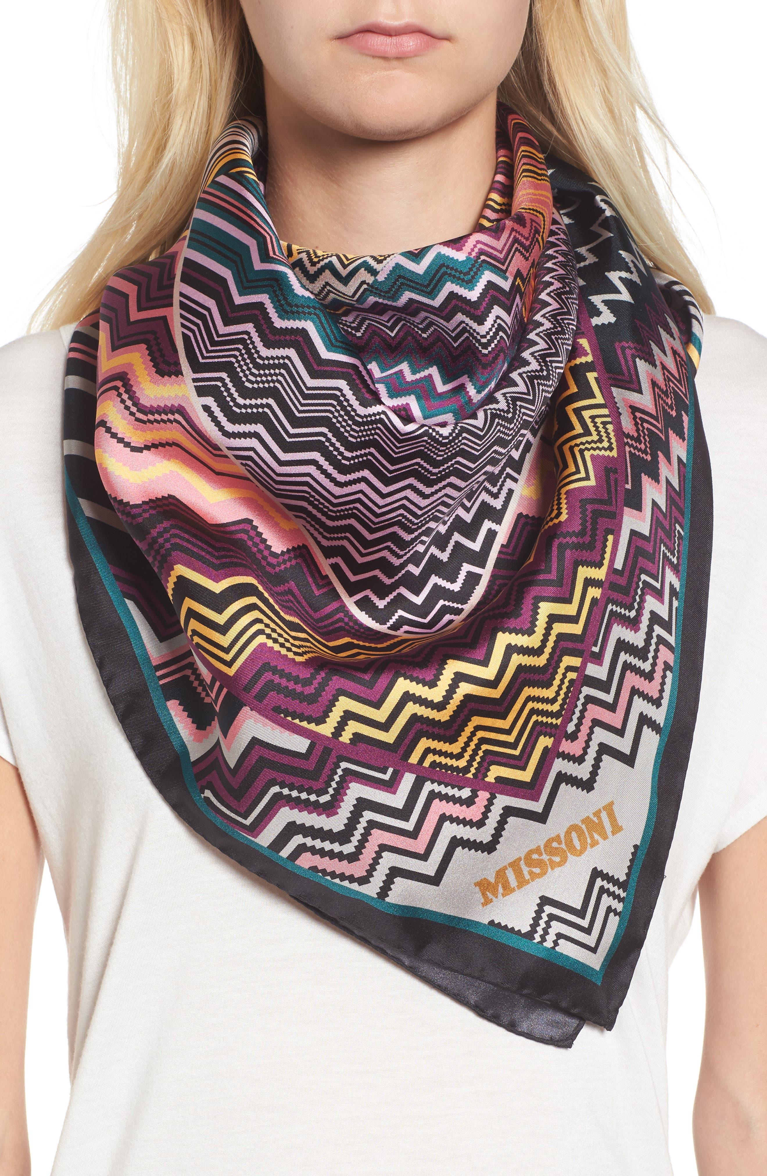 Zigzag Square Silk Scarf,                         Main,                         color, Purple