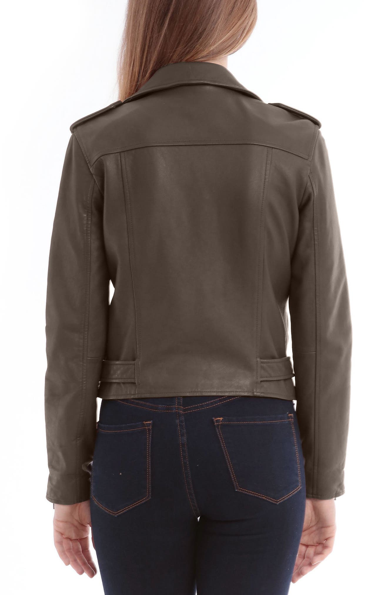 Alternate Image 2  - Bagatelle Washed Leather Biker Jacket