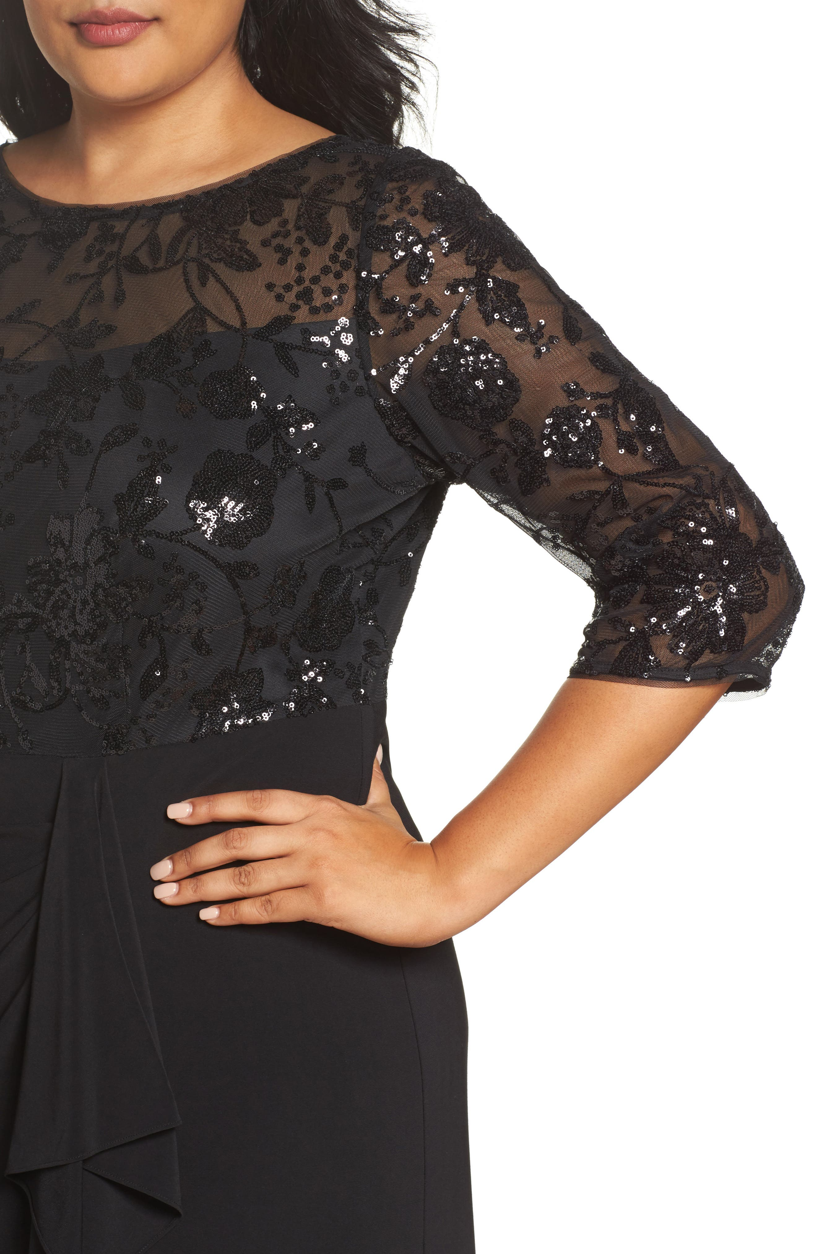 Alternate Image 4  - Alex Evenings Sequin Mesh & Jersey Column Gown (Plus Size)