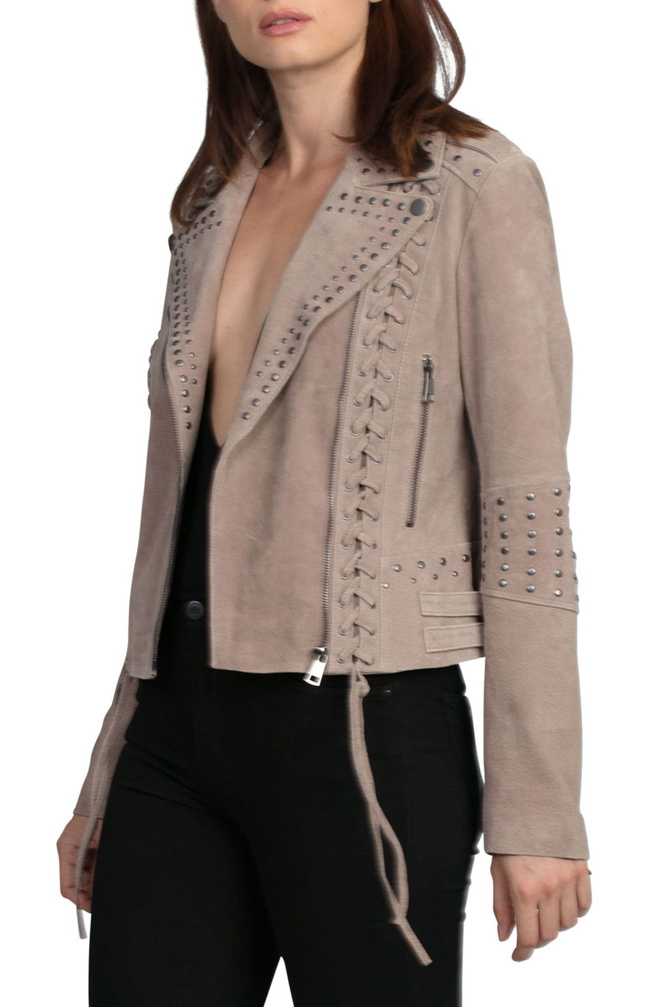 Bagatelle Studded Suede Jacket,                             Alternate thumbnail 4, color,                             Latte