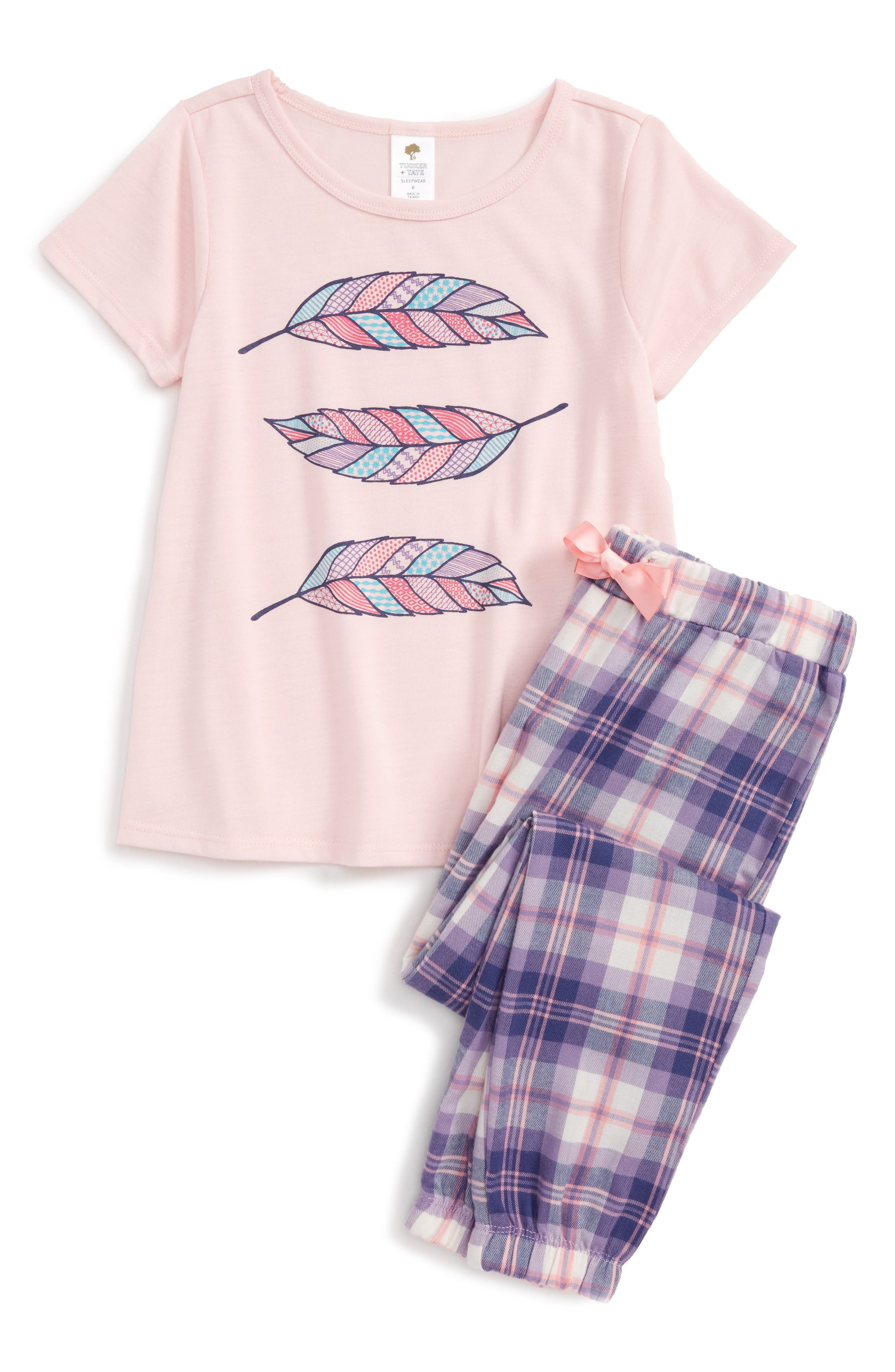 Two-Piece Pajamas,                             Main thumbnail 1, color,                             Pink Baby Feathers