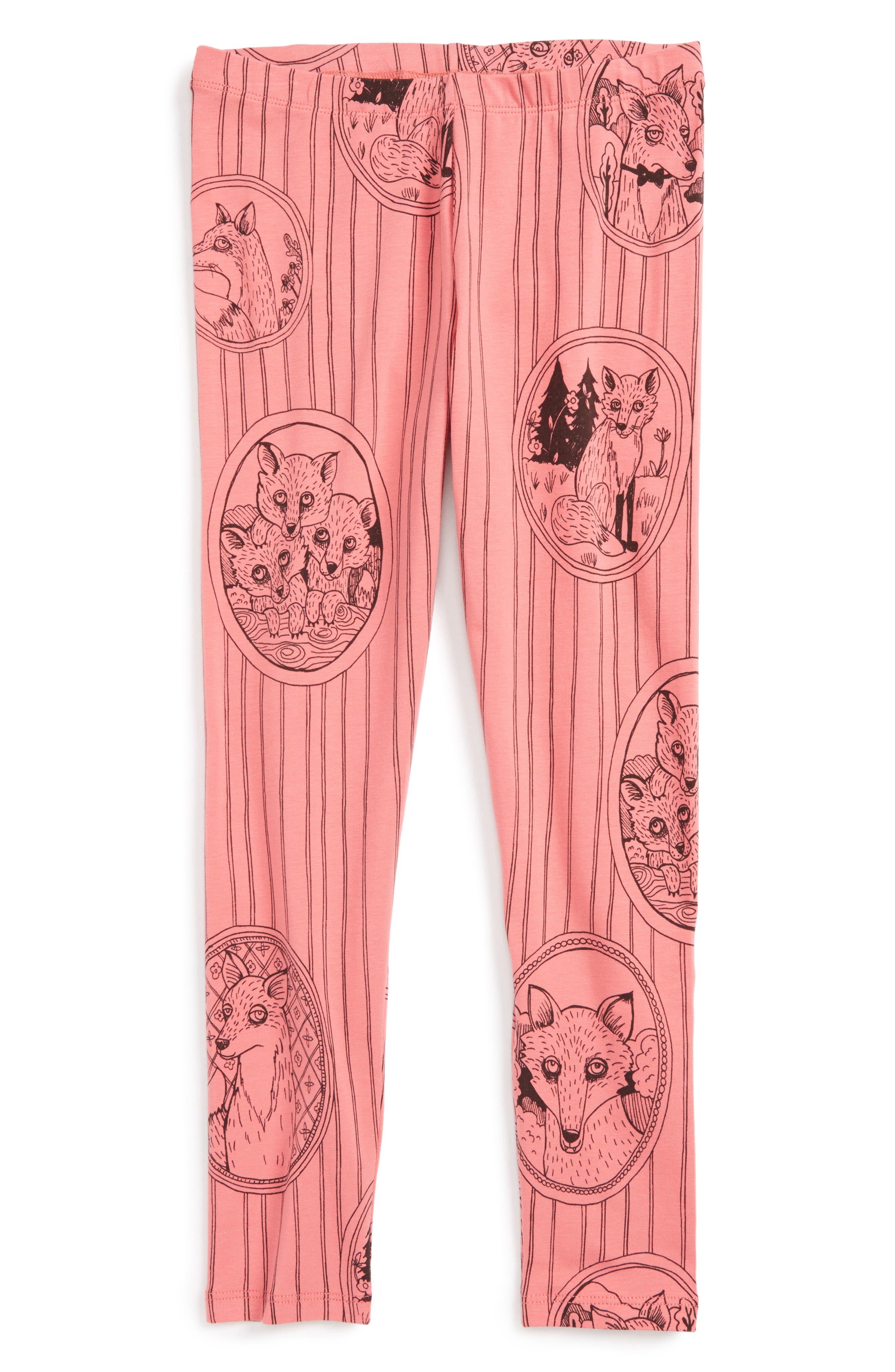 Fox Family Leggings,                             Main thumbnail 1, color,                             Pink