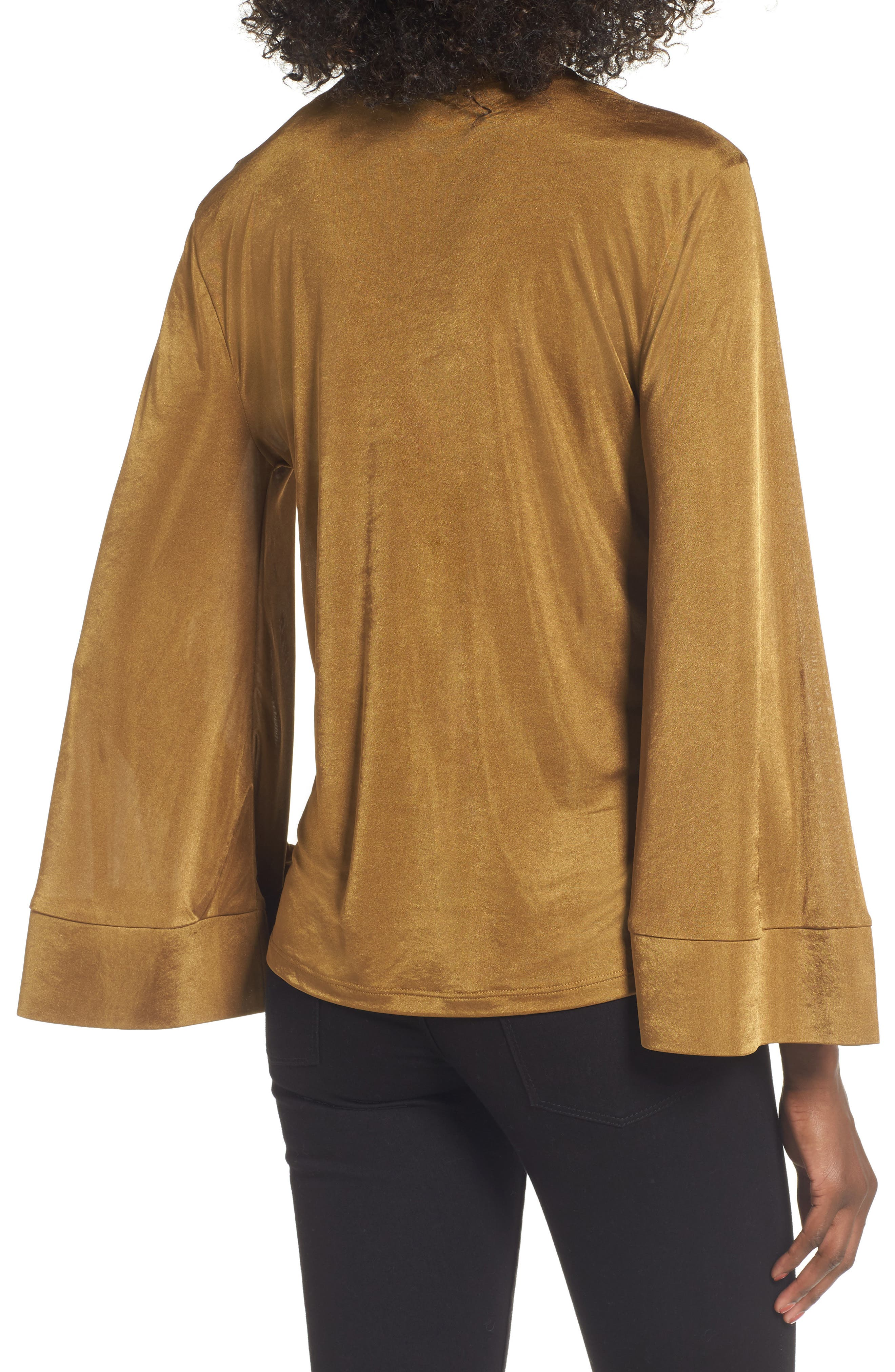 Choker Bell Sleeve Top,                             Alternate thumbnail 2, color,                             Olive Palm