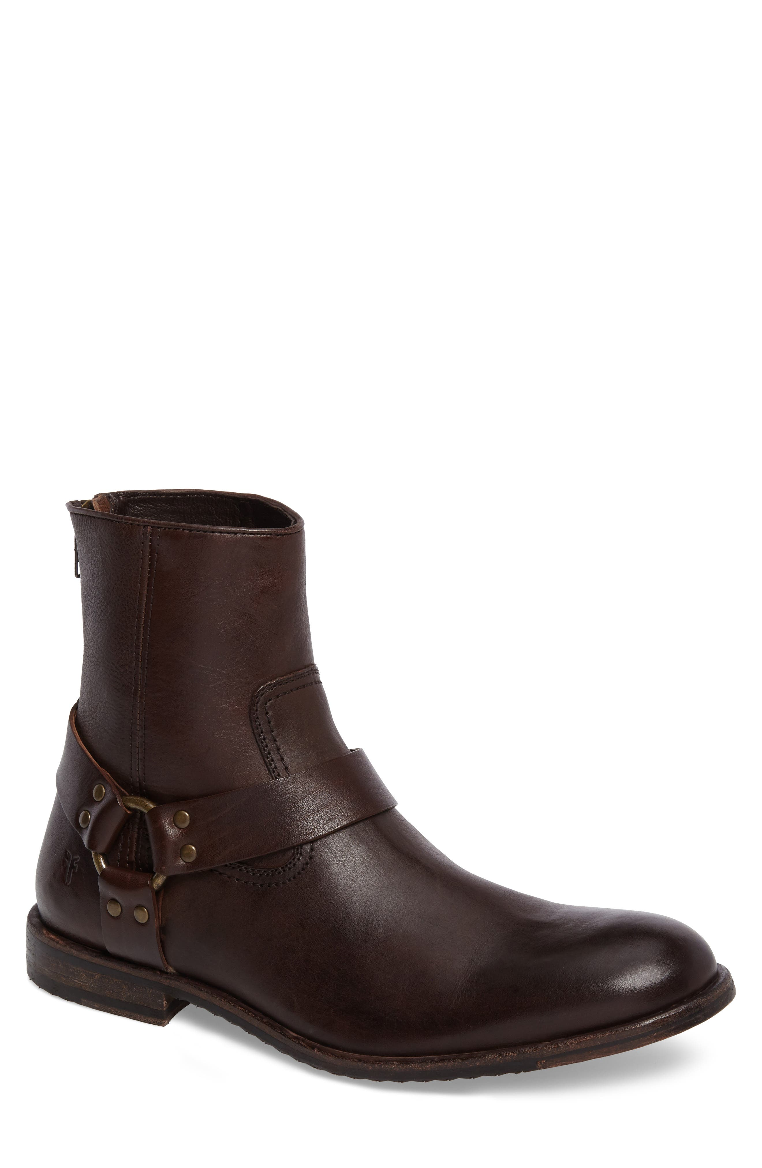 Sam Harness Boot,                         Main,                         color, Dark Brown Leather