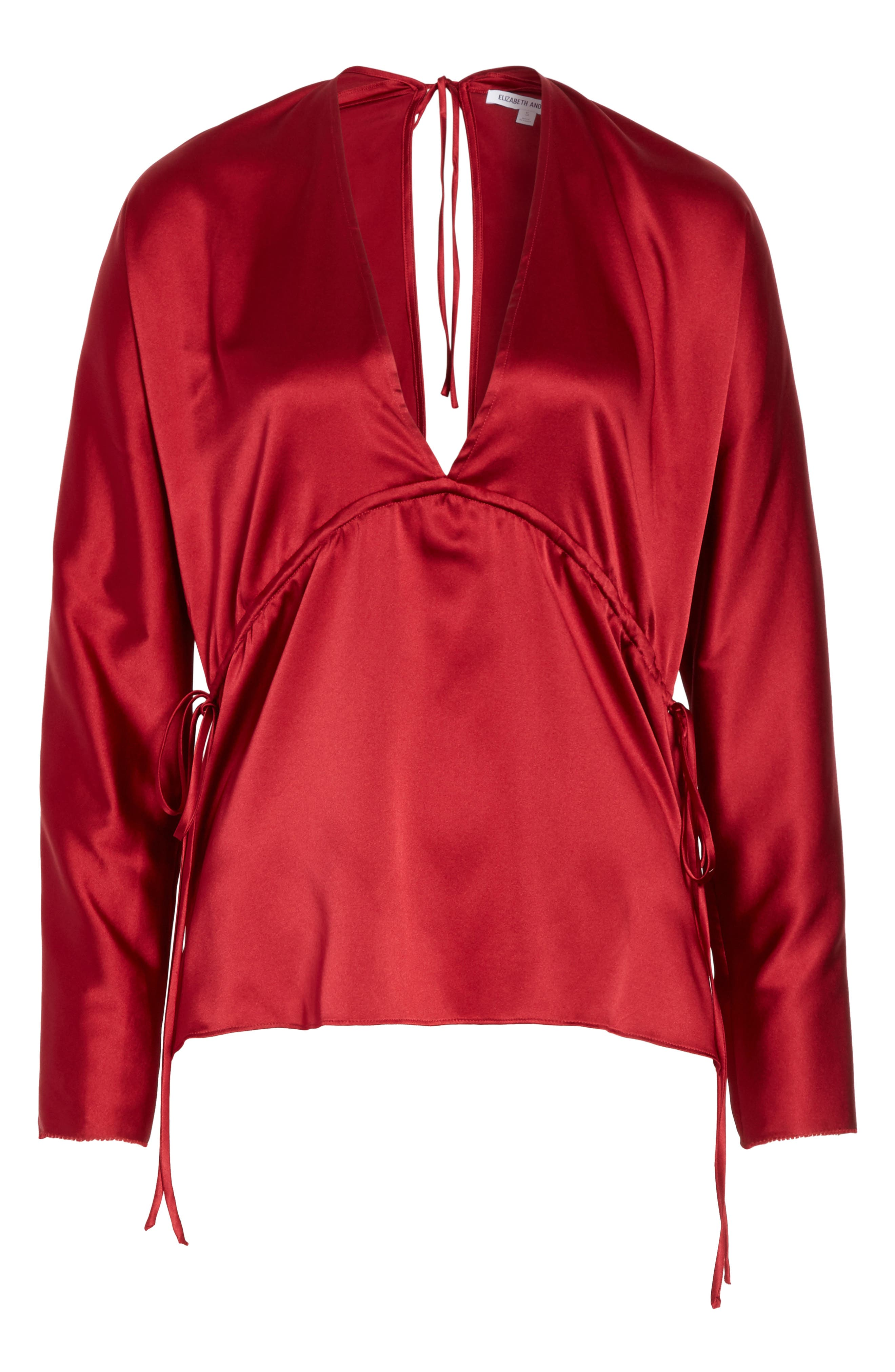 Ophelie Stretch Silk Blouse,                             Alternate thumbnail 6, color,                             Cayenne