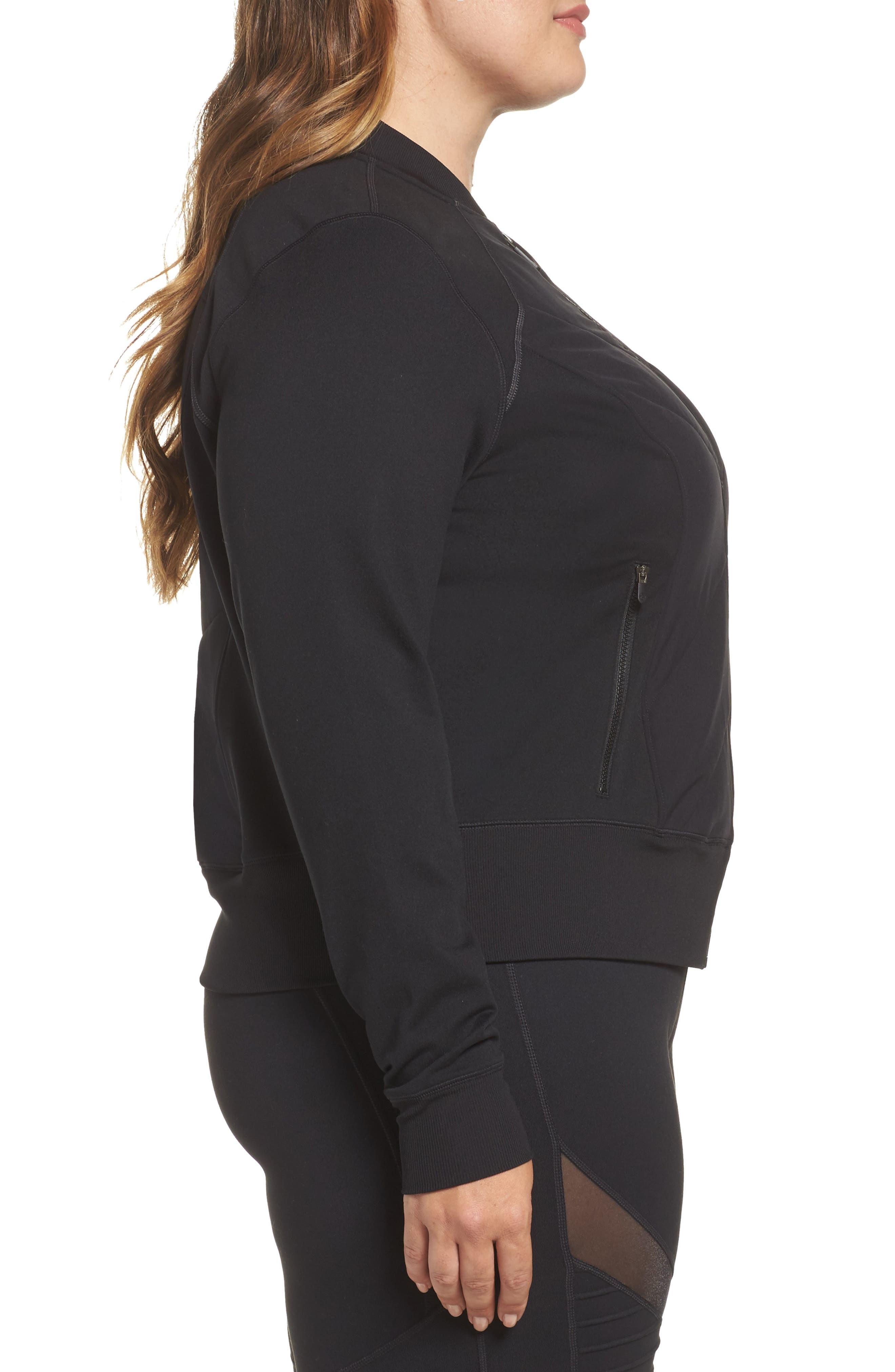 Wear It Out Bomber Jacket,                             Alternate thumbnail 4, color,                             Black