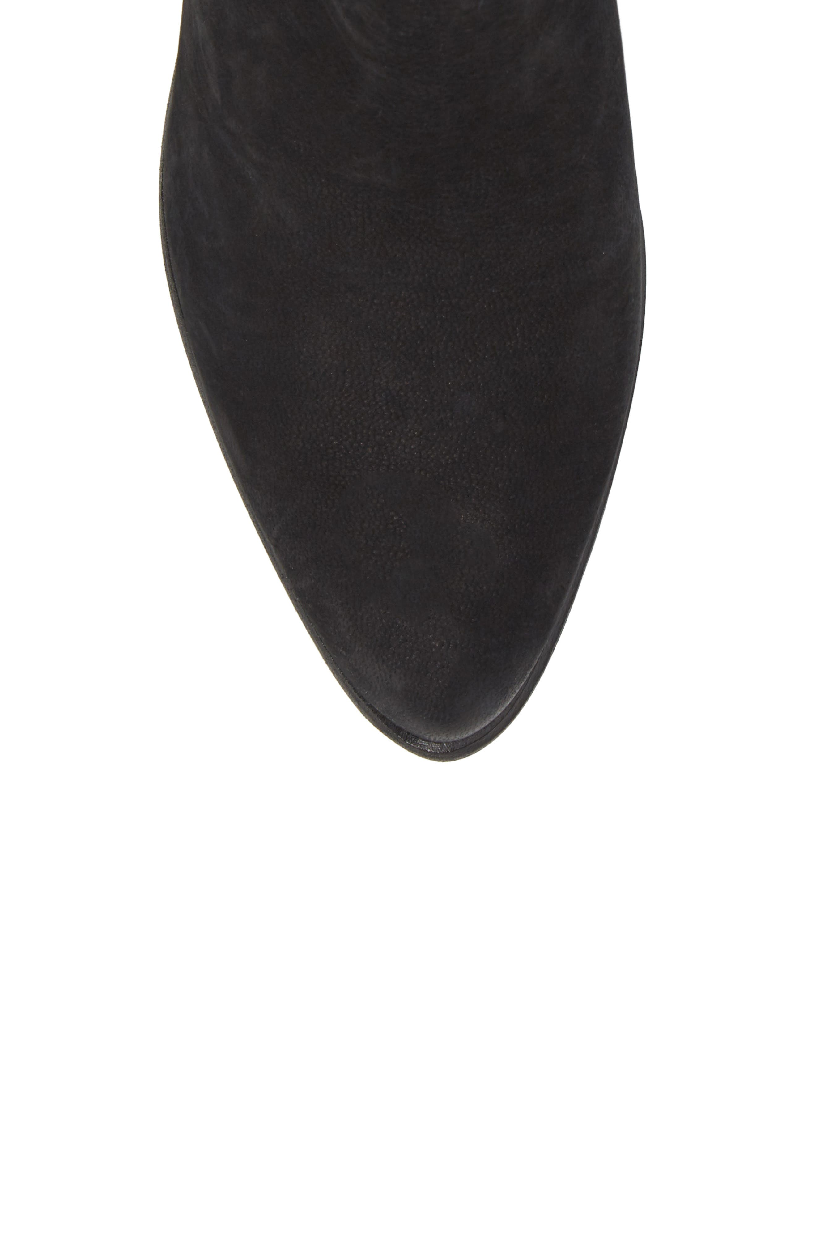 Cassius Block Heel Bootie,                             Alternate thumbnail 5, color,                             Black Nubuck Leather