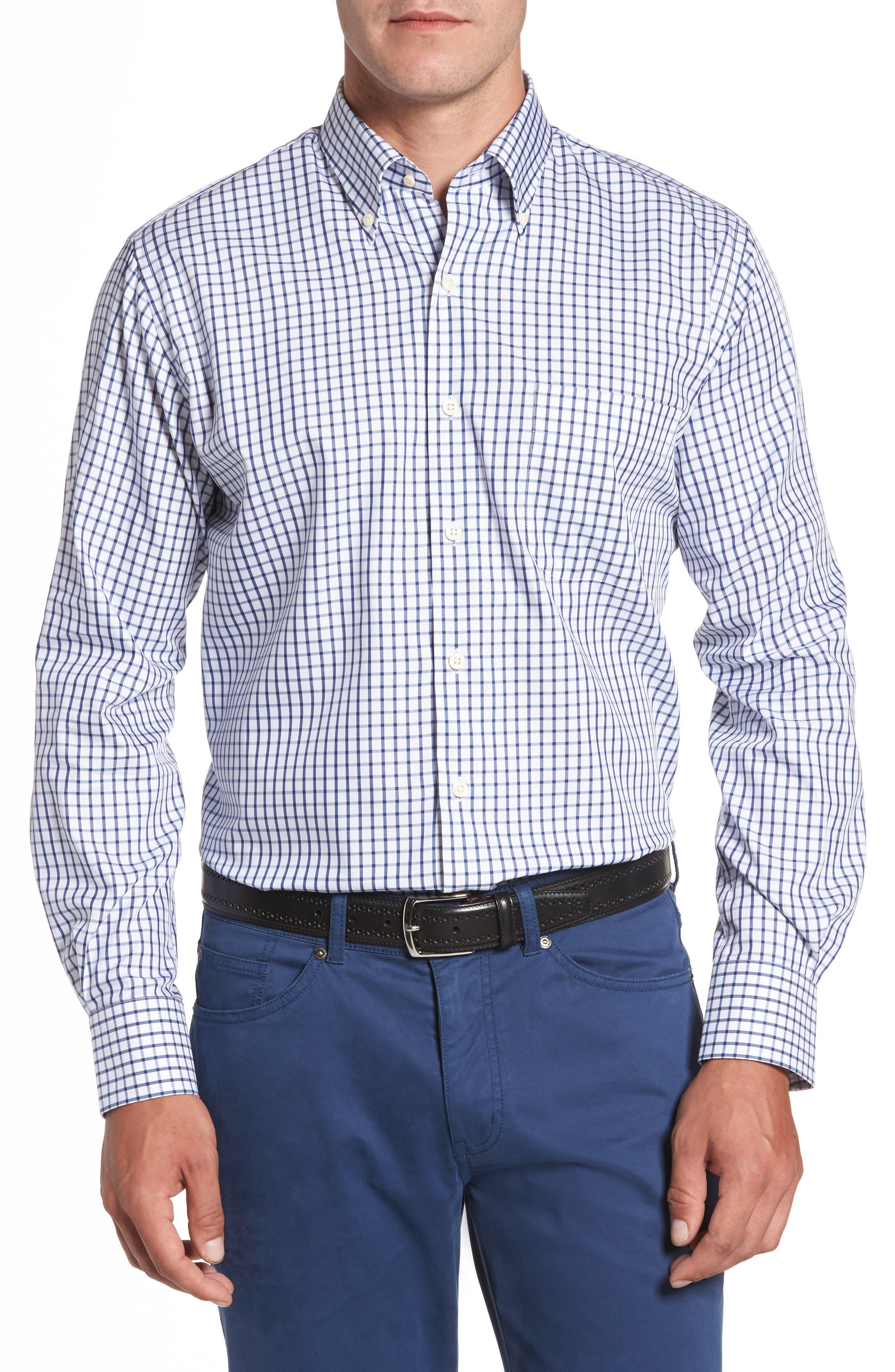 Crown Soft Nevada Tattersall Sport Shirt,                         Main,                         color, Midwinter Blue