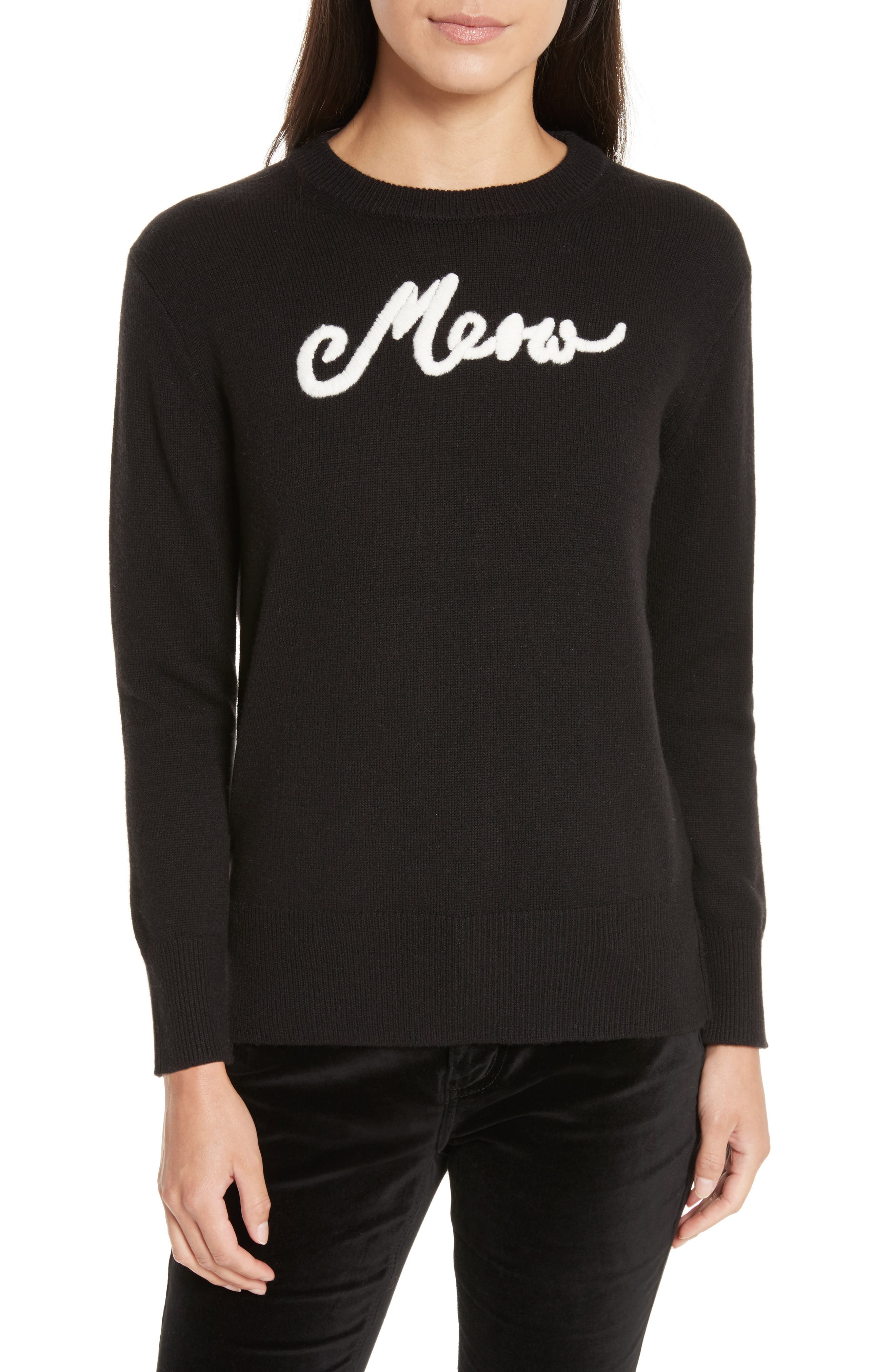meow sweater,                         Main,                         color, Black