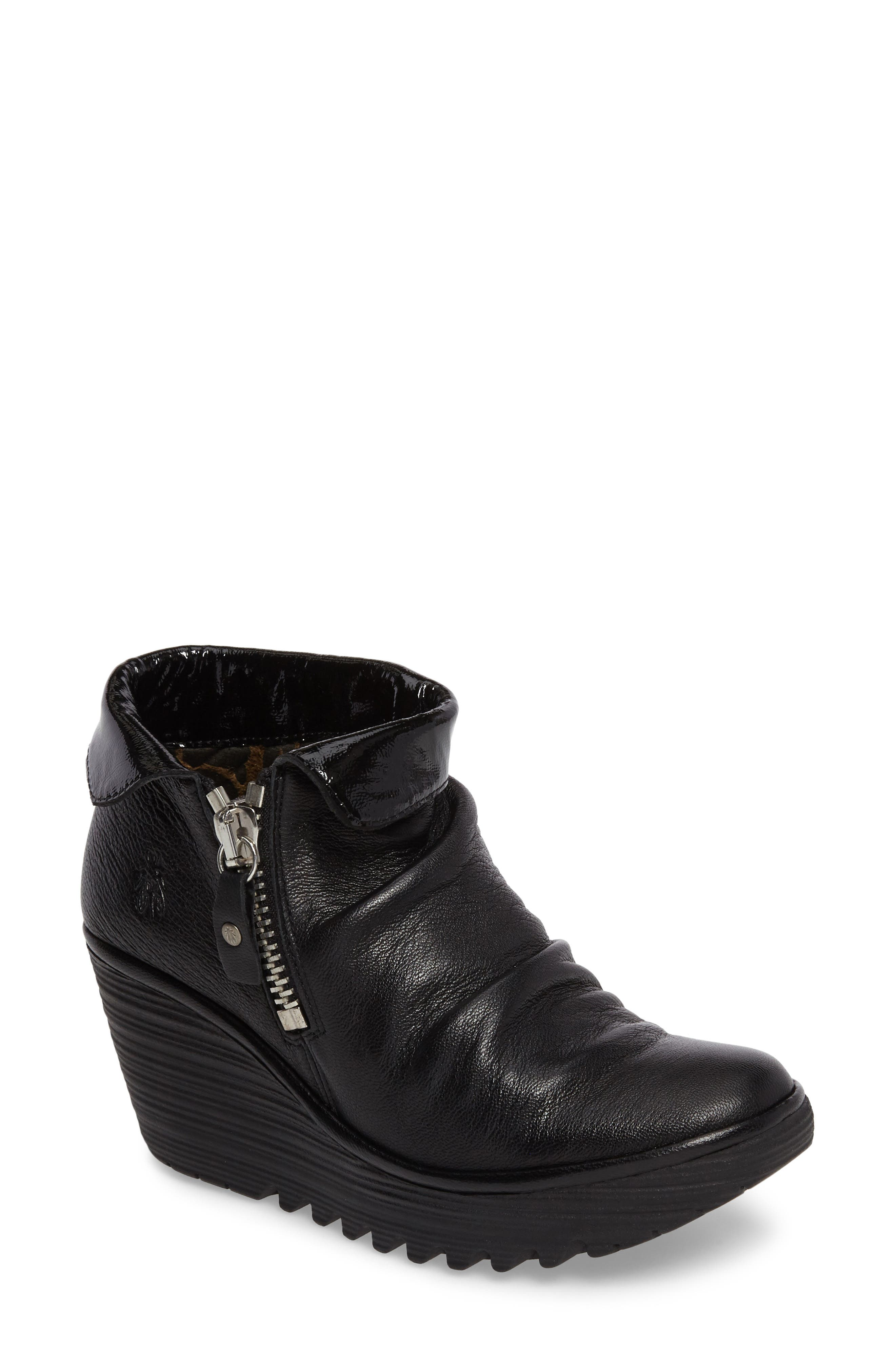 Yoxi Wedge Bootie,                         Main,                         color, Black Leather