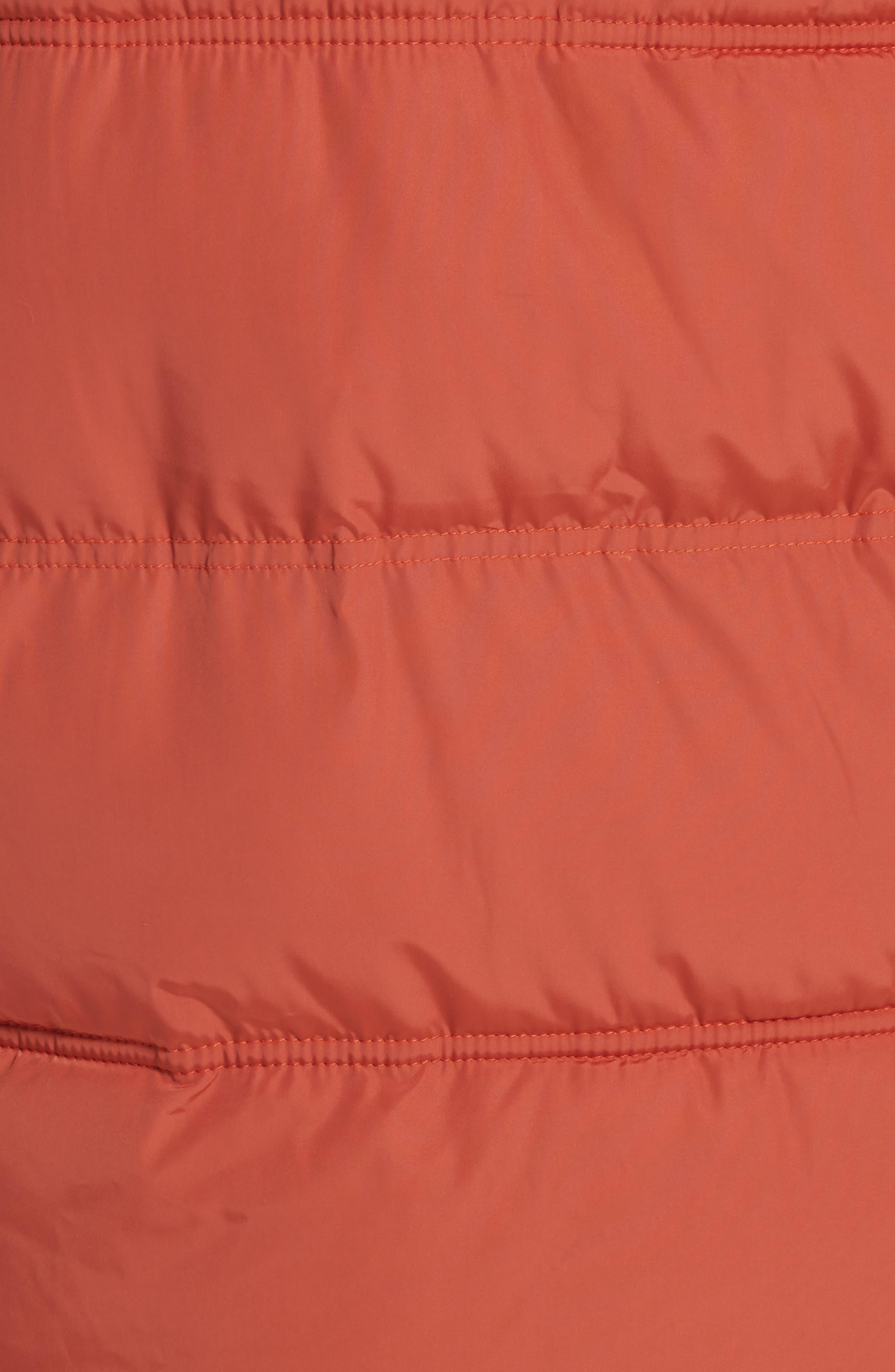 Raglan Long Puffer Coat,                             Alternate thumbnail 5, color,                             Terracotta
