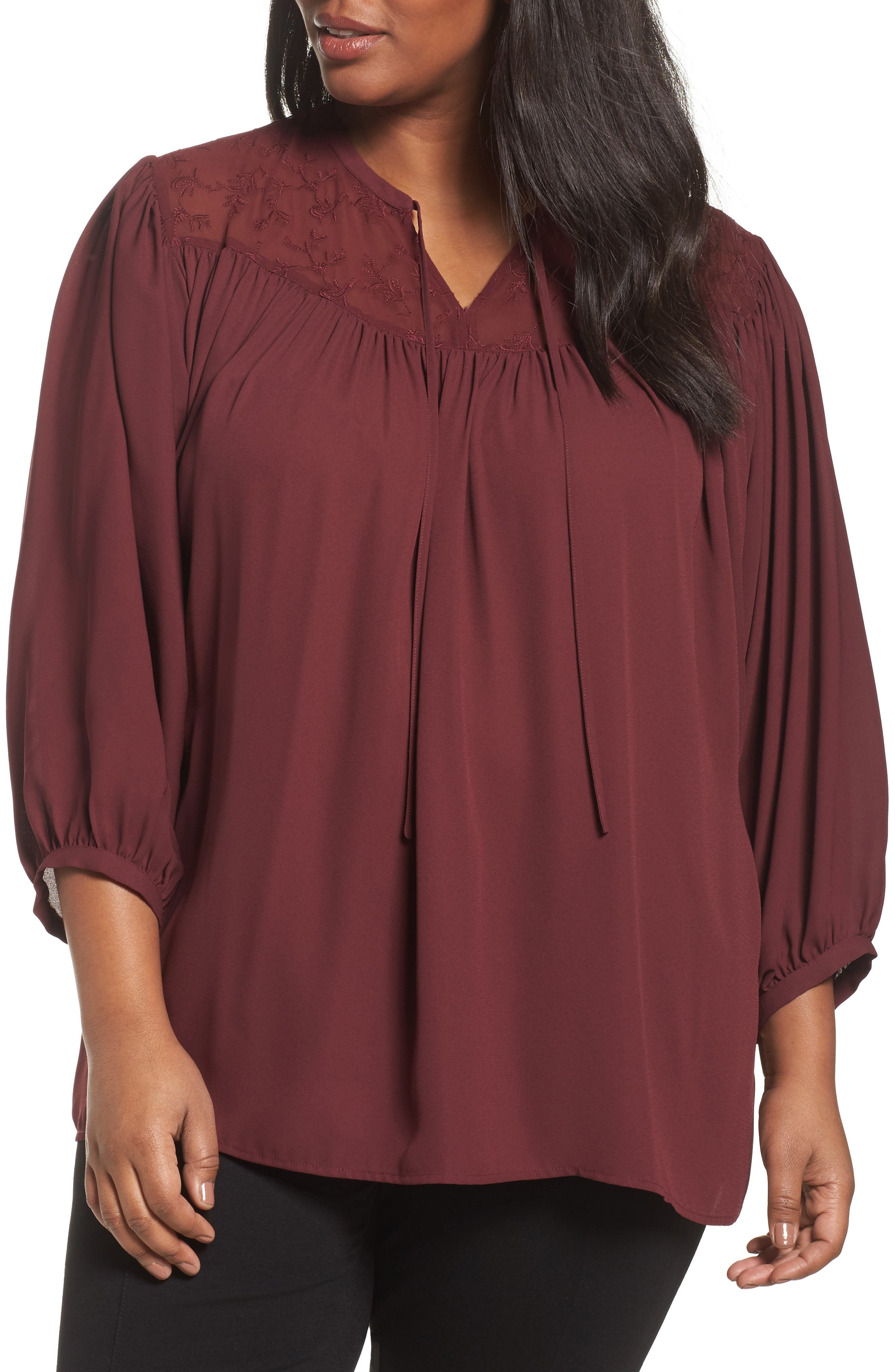 Sejour Embroidered Peasant Blouse (Plus Size)