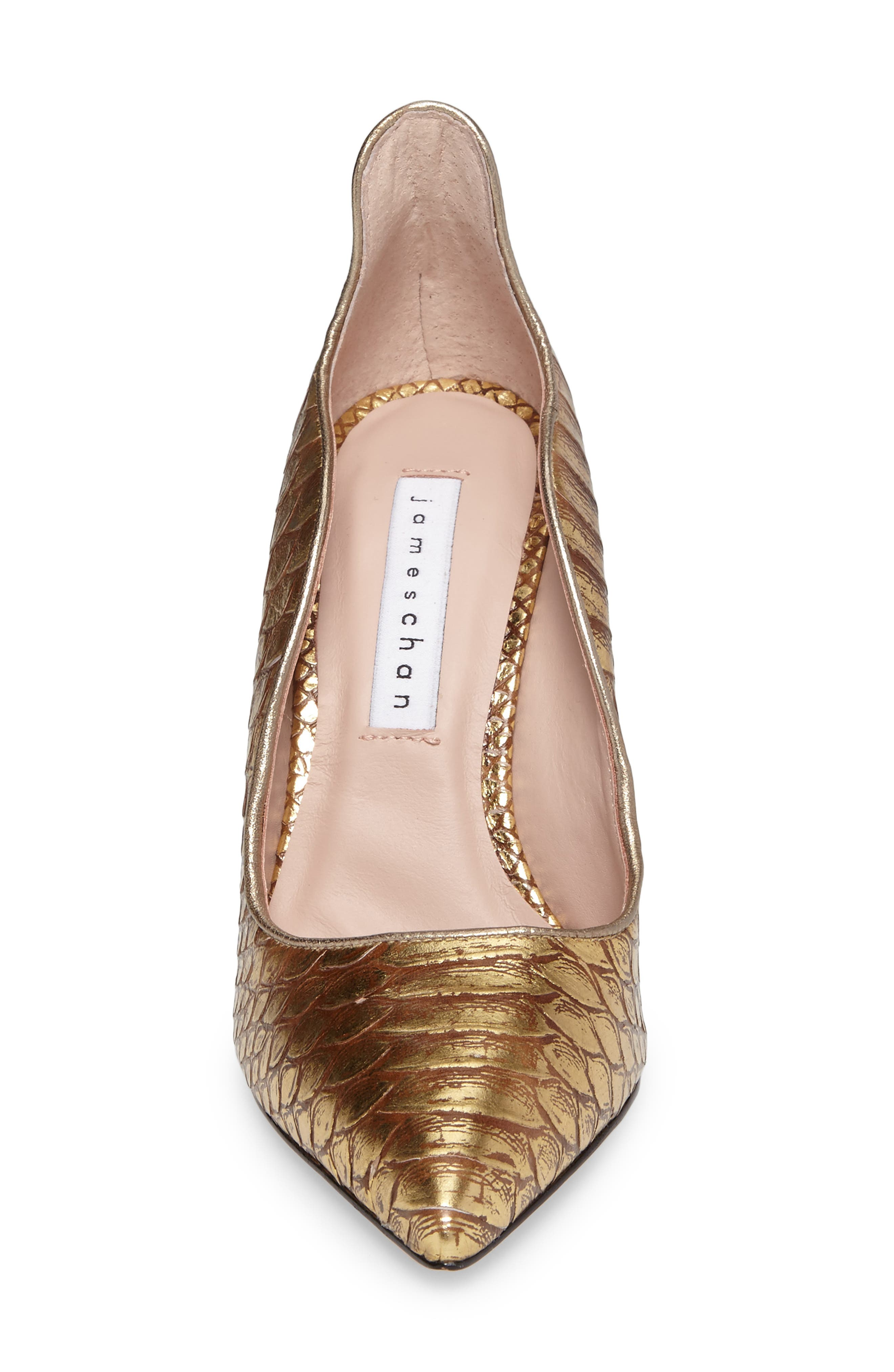 Anika II Curved Pump,                             Alternate thumbnail 4, color,                             Gold Embossed Leather