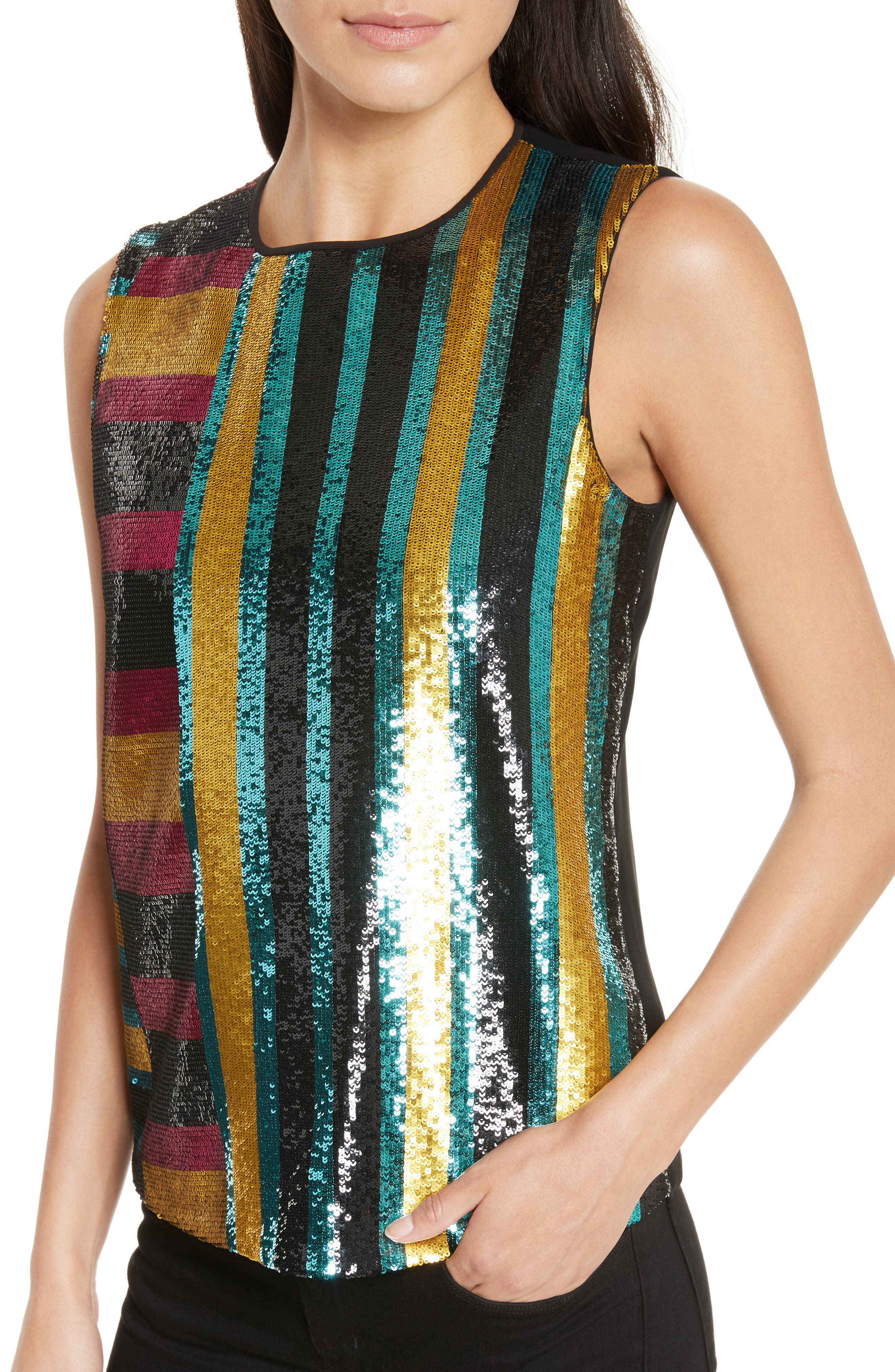 Shimmer Sequin Front Shell,                             Alternate thumbnail 4, color,                             Saxon Stripe Lemon/ Black