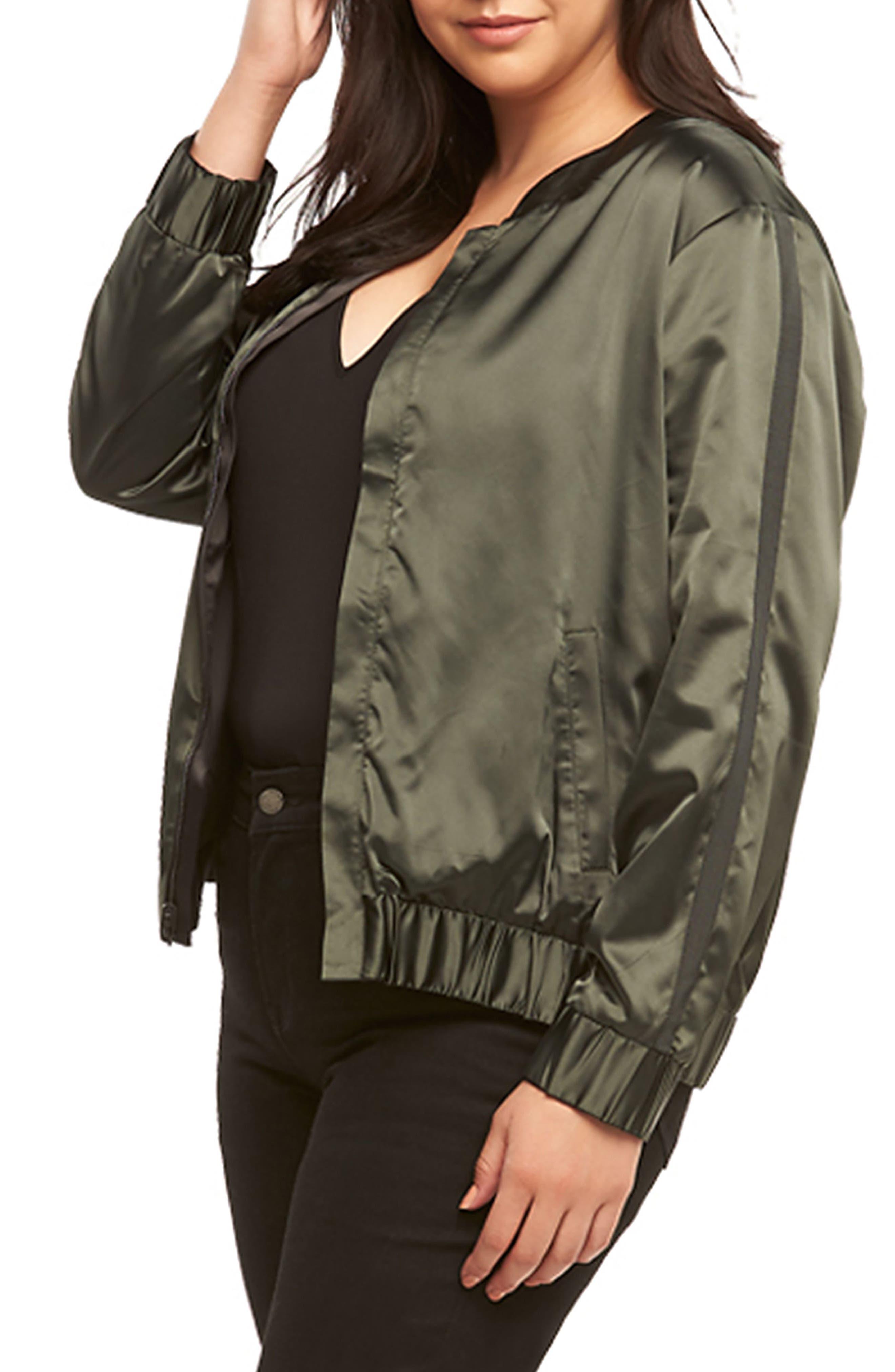 Azaria Reversible Bomber Jacket,                             Alternate thumbnail 4, color,                             Black/ Urban Chic