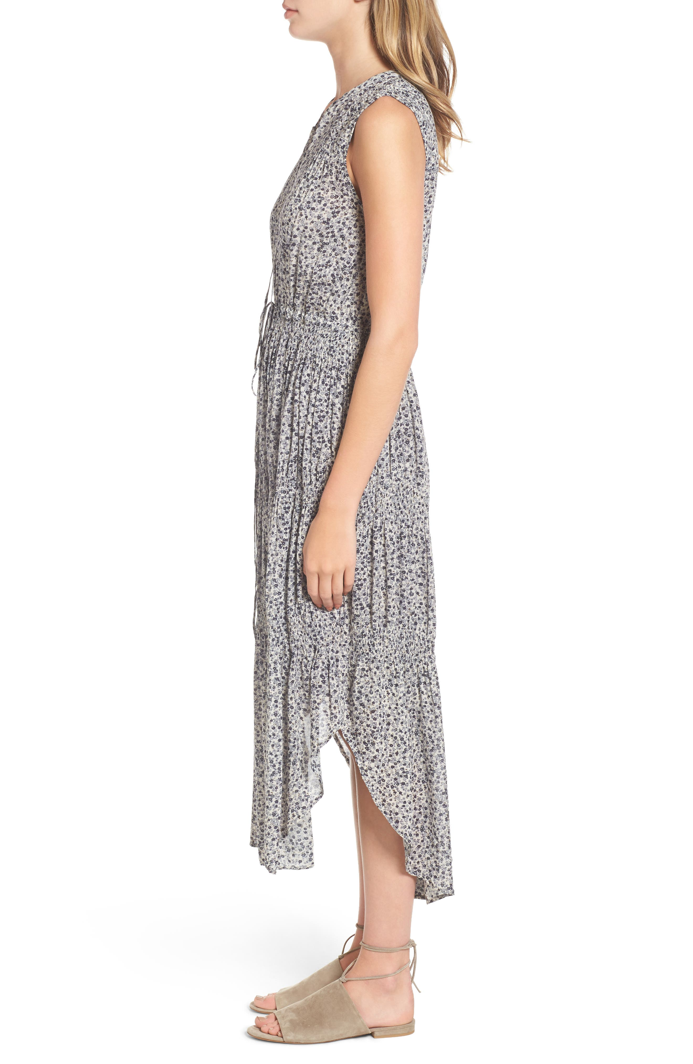 Floral Pleated Midi Dress,                             Alternate thumbnail 3, color,                             North/ Pearl Grey