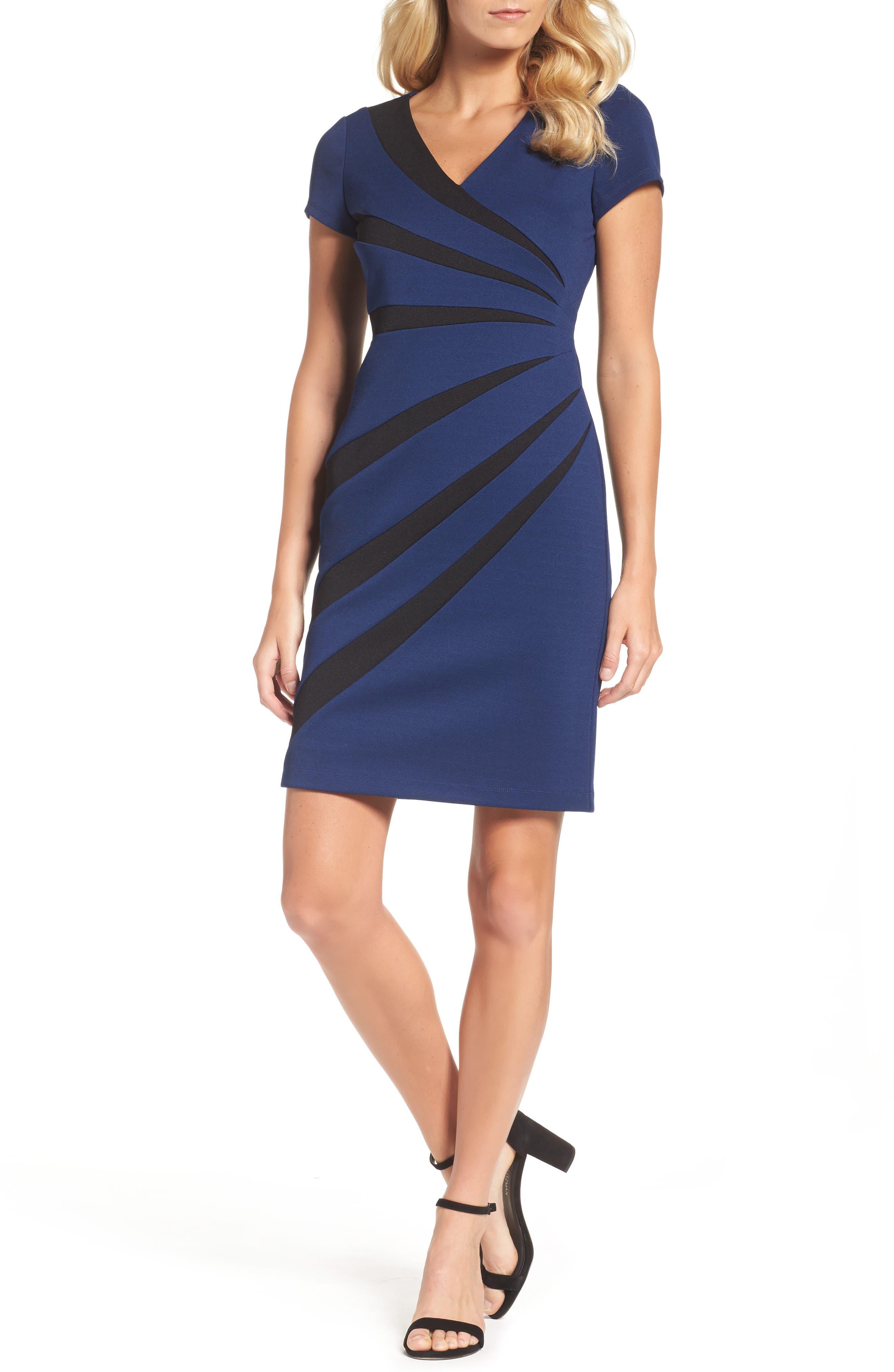 Stripe Sheath Dress,                         Main,                         color, Blue