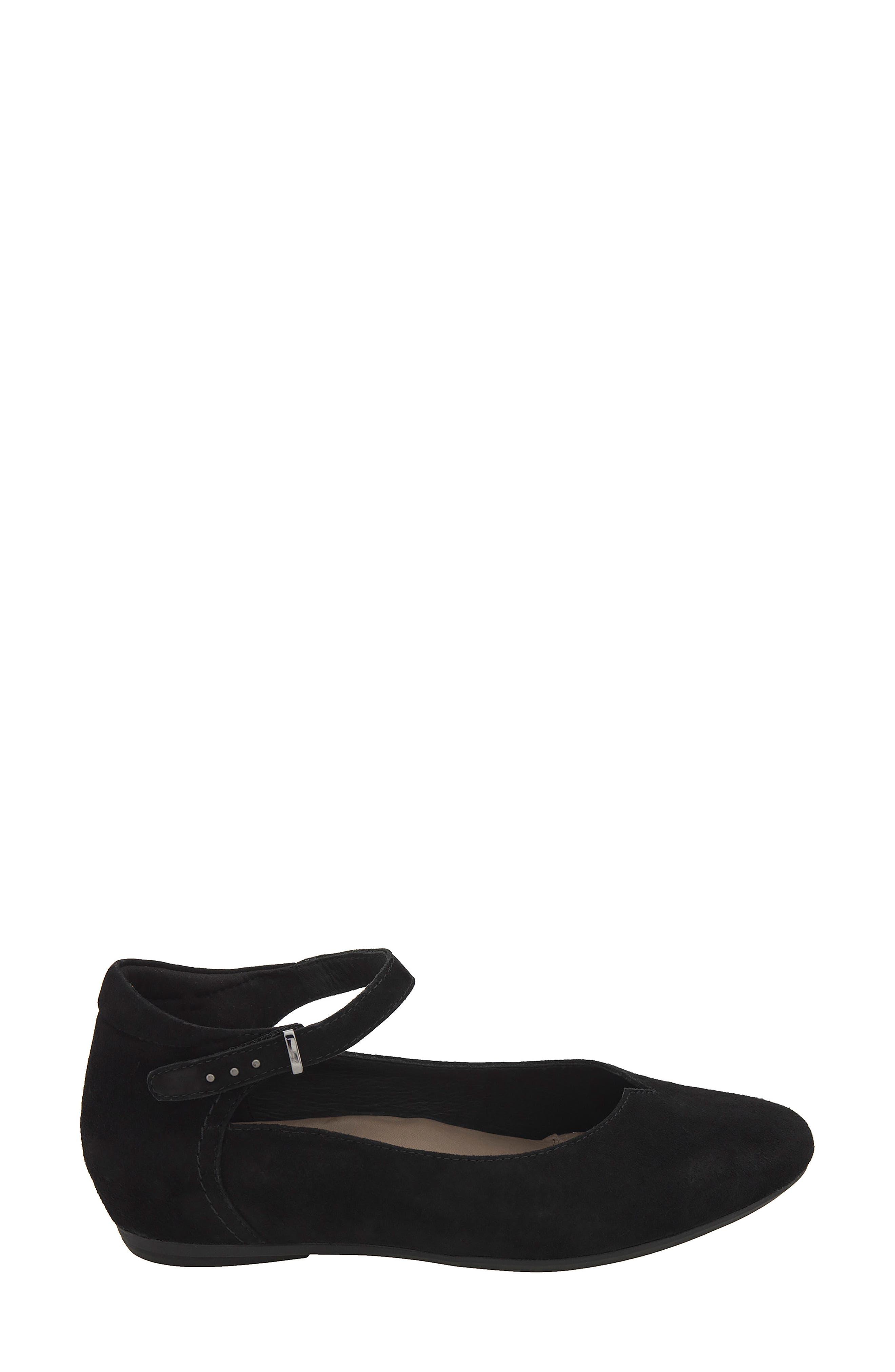 Emery Ankle Strap Flat,                             Alternate thumbnail 3, color,                             Black Suede
