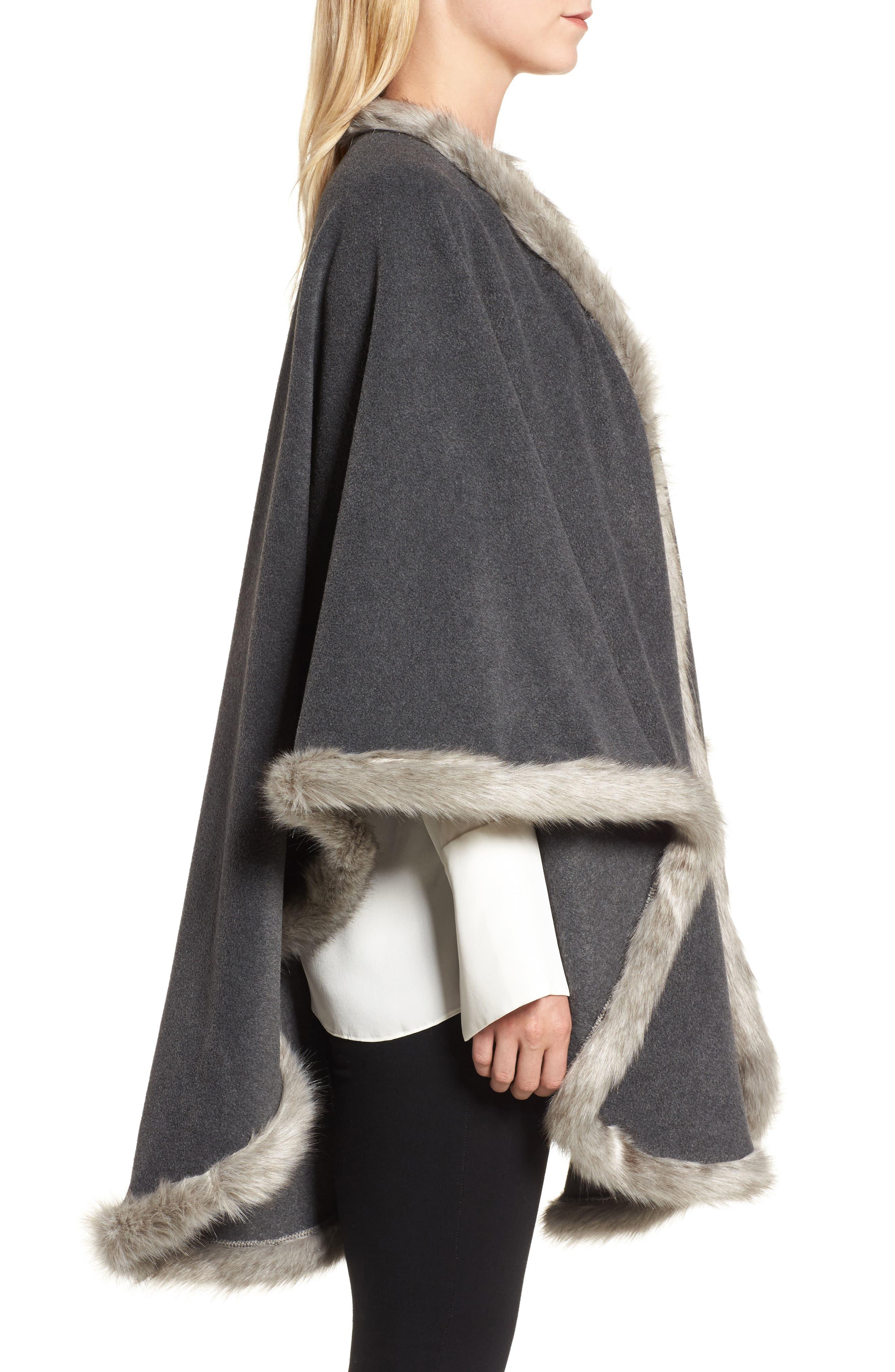 Tara Faux Fur Trim Wrap,                             Alternate thumbnail 3, color,                             Charcoal/ Granite Fox
